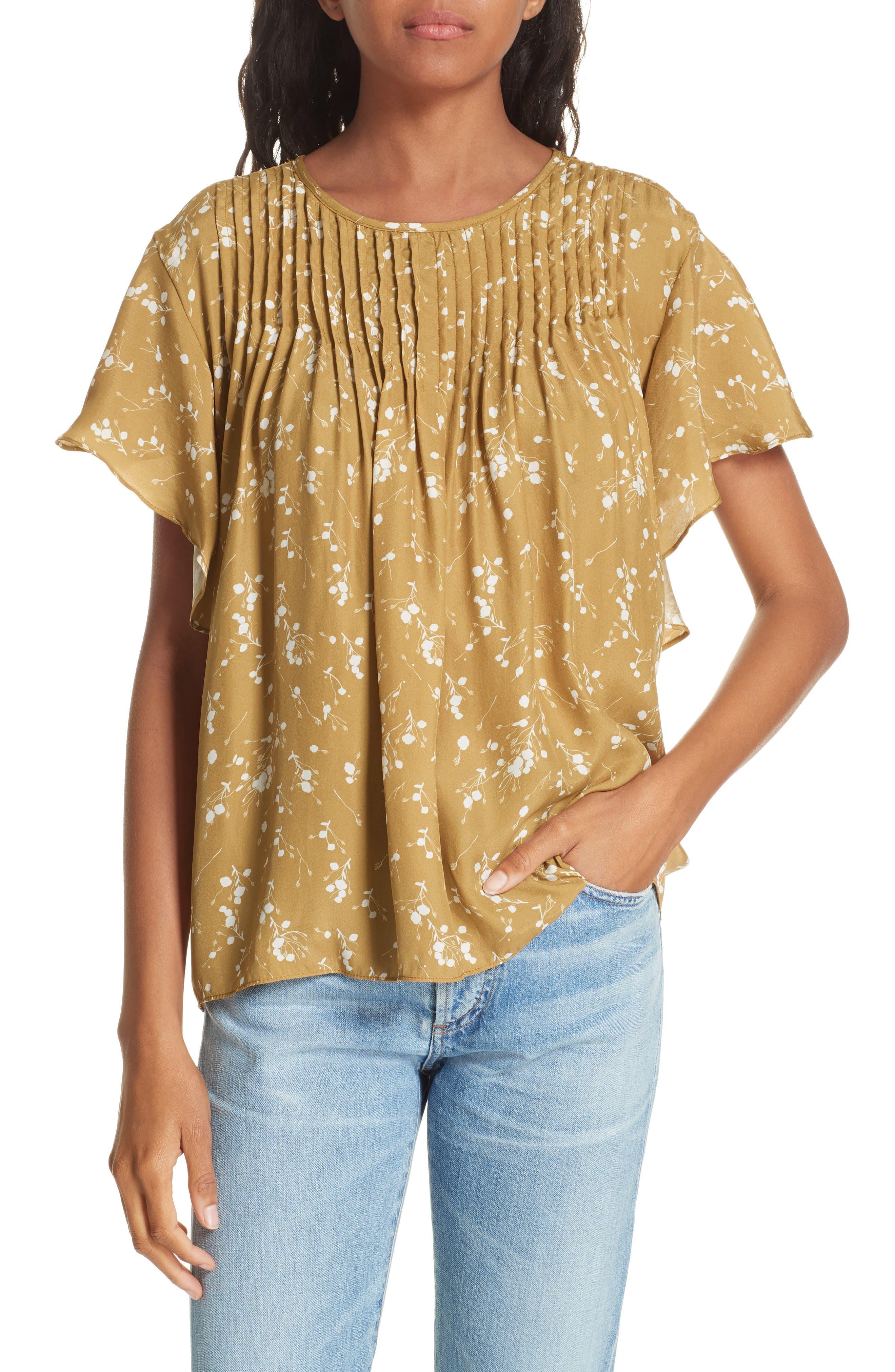 Murray Pintuck Flutter Sleeve Silk Blouse,                         Main,                         color, GOLD PLUM BLOSSOM