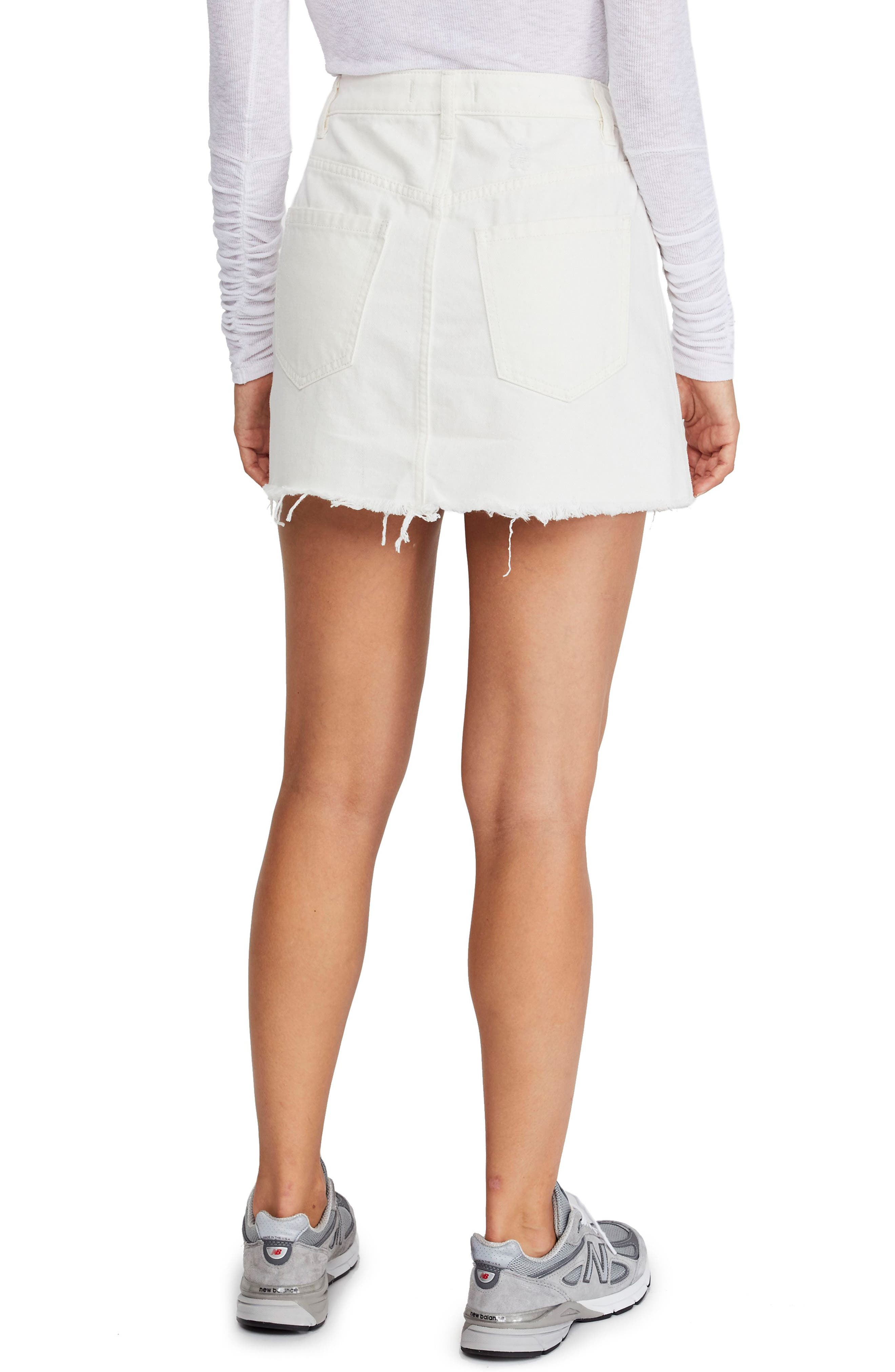 FREE PEOPLE,                             Zip It Up Denim Miniskirt,                             Alternate thumbnail 2, color,                             WHITE