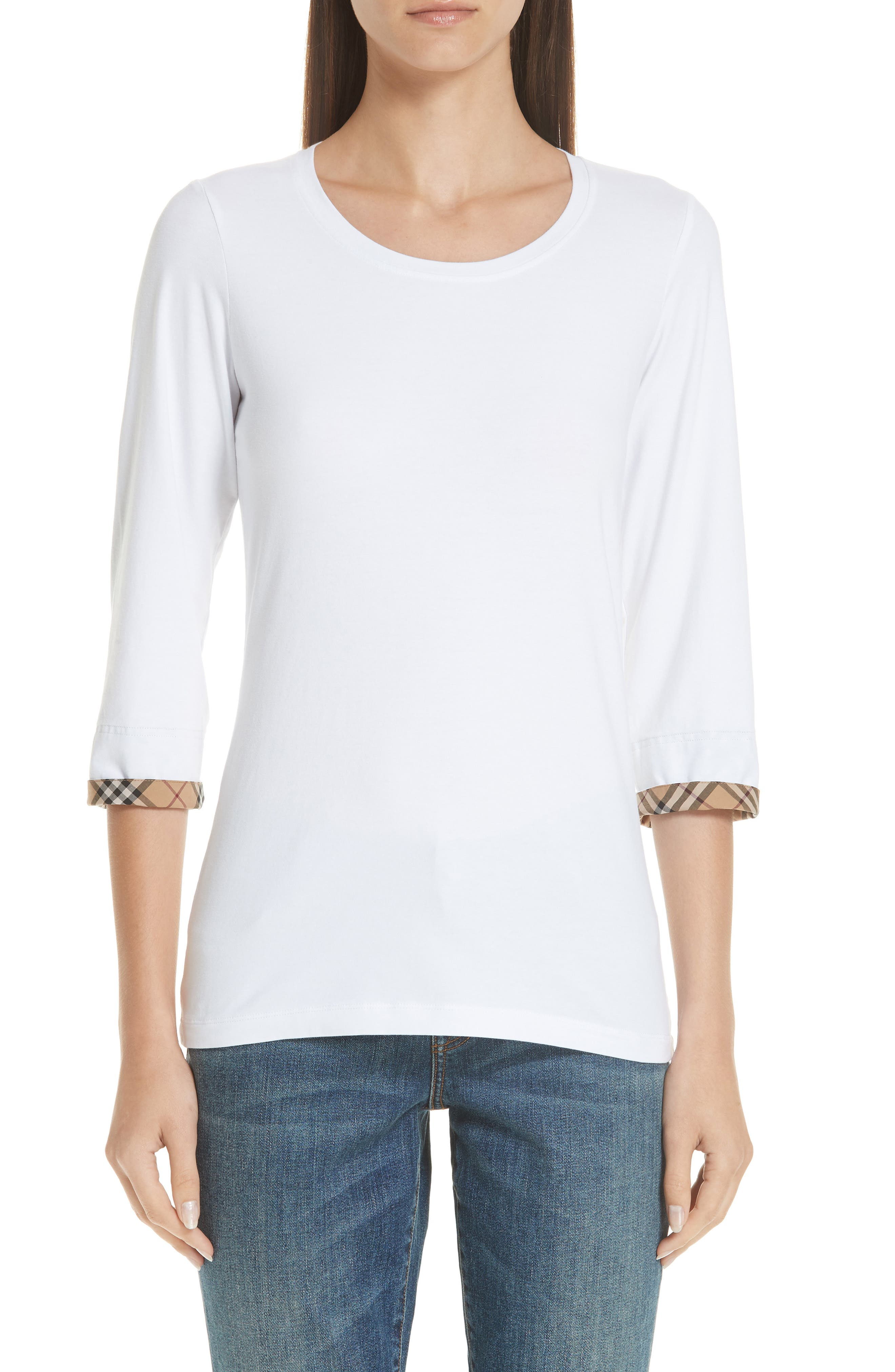 Lohit Check Cuff Stretch Cotton Tee,                             Main thumbnail 1, color,                             100