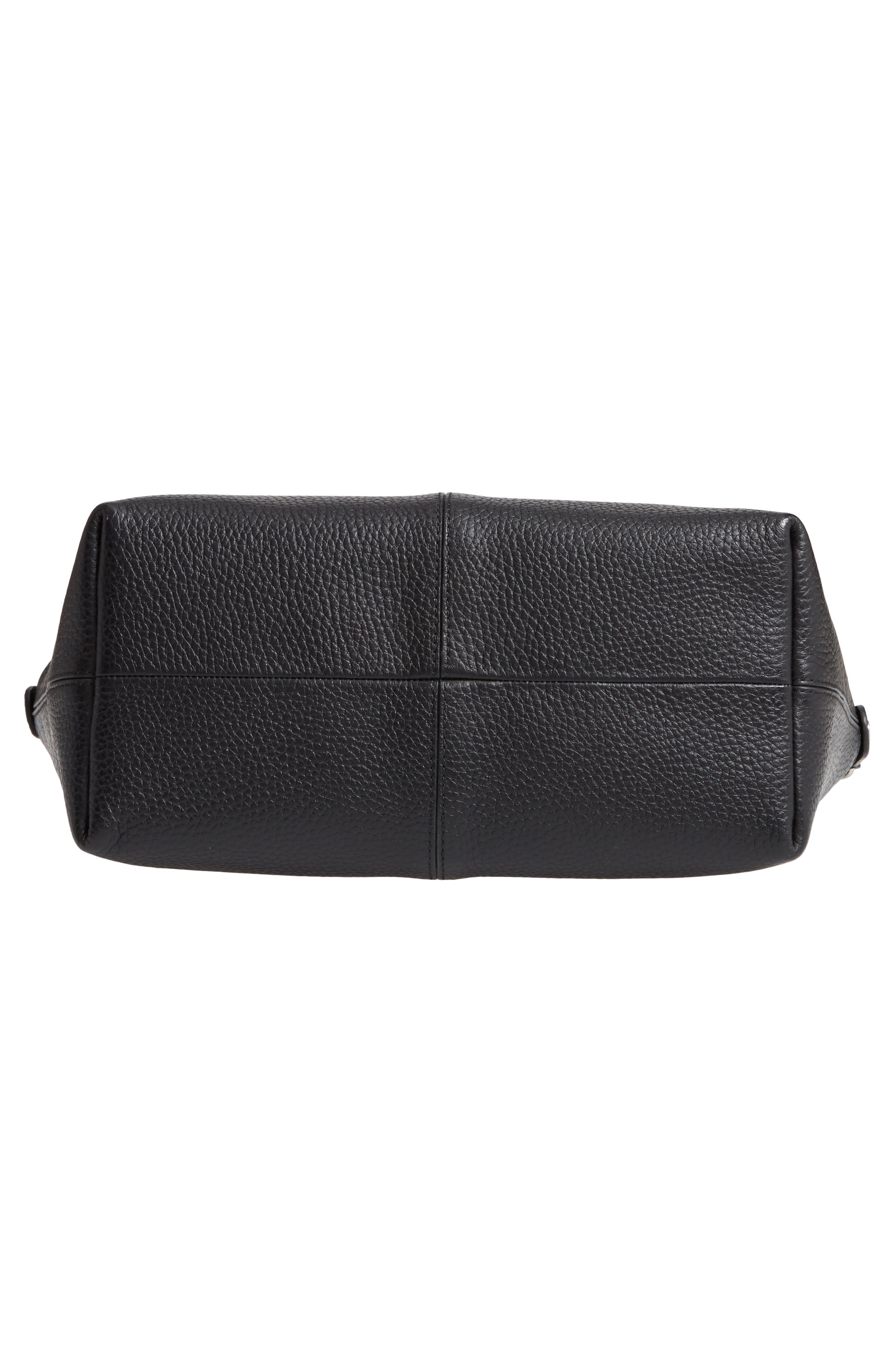 Nevyn Leather Messenger Bag,                             Alternate thumbnail 6, color,                             BLACK