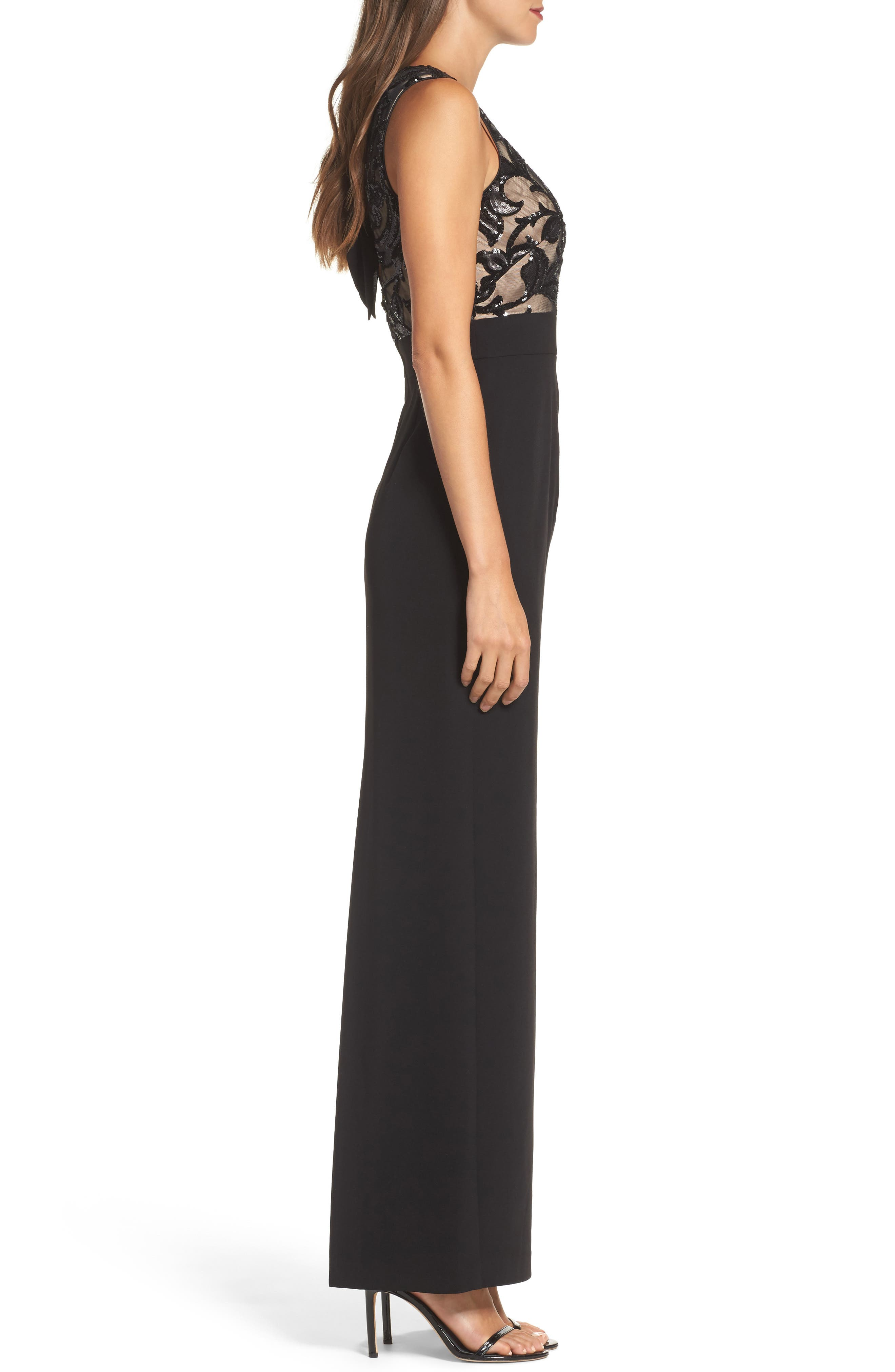 Sequin Crepe Column Gown,                             Alternate thumbnail 3, color,                             001