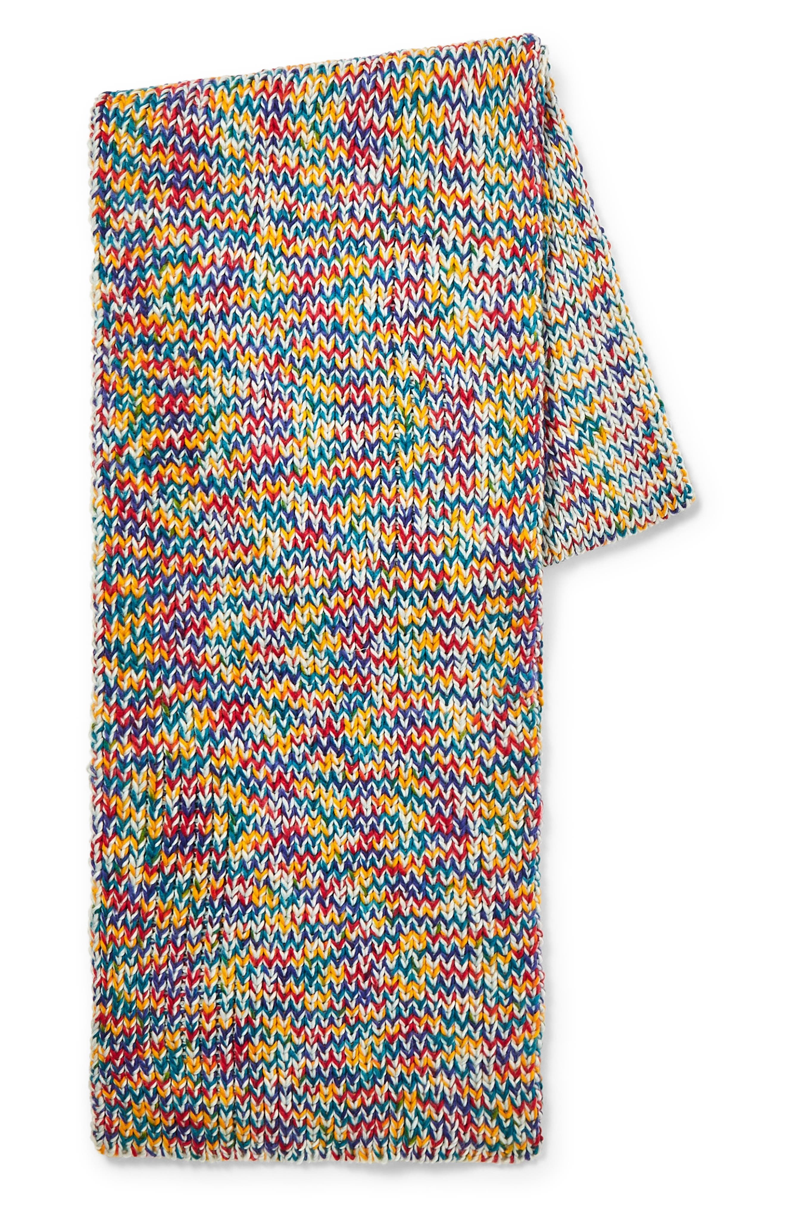 Twist Knit Scarf, Main, color, YELLOW MULTI