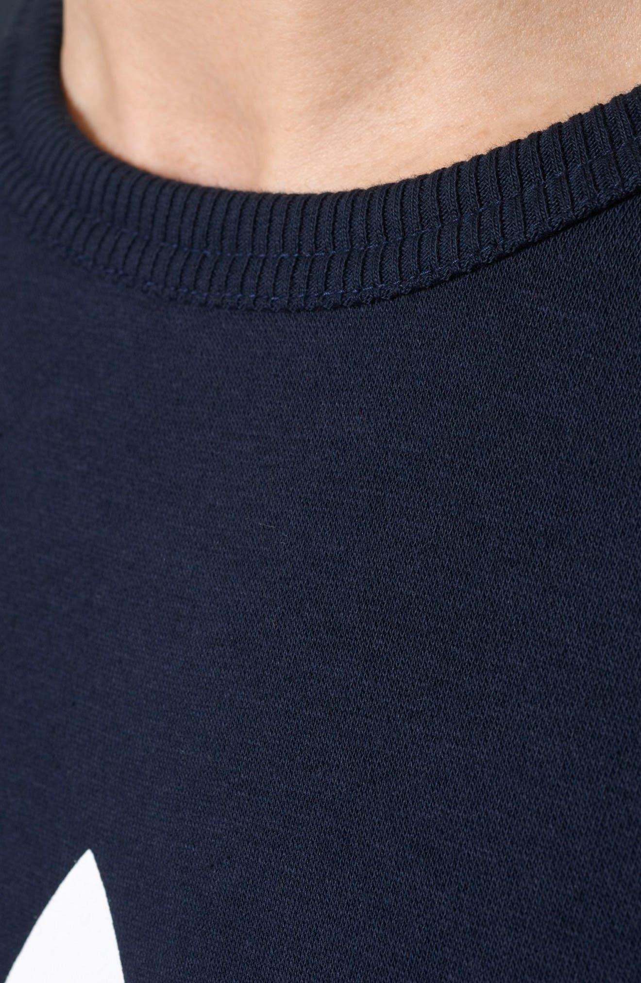 Slim Fit Trefoil Logo Crewneck Sweatshirt,                             Alternate thumbnail 4, color,                             408
