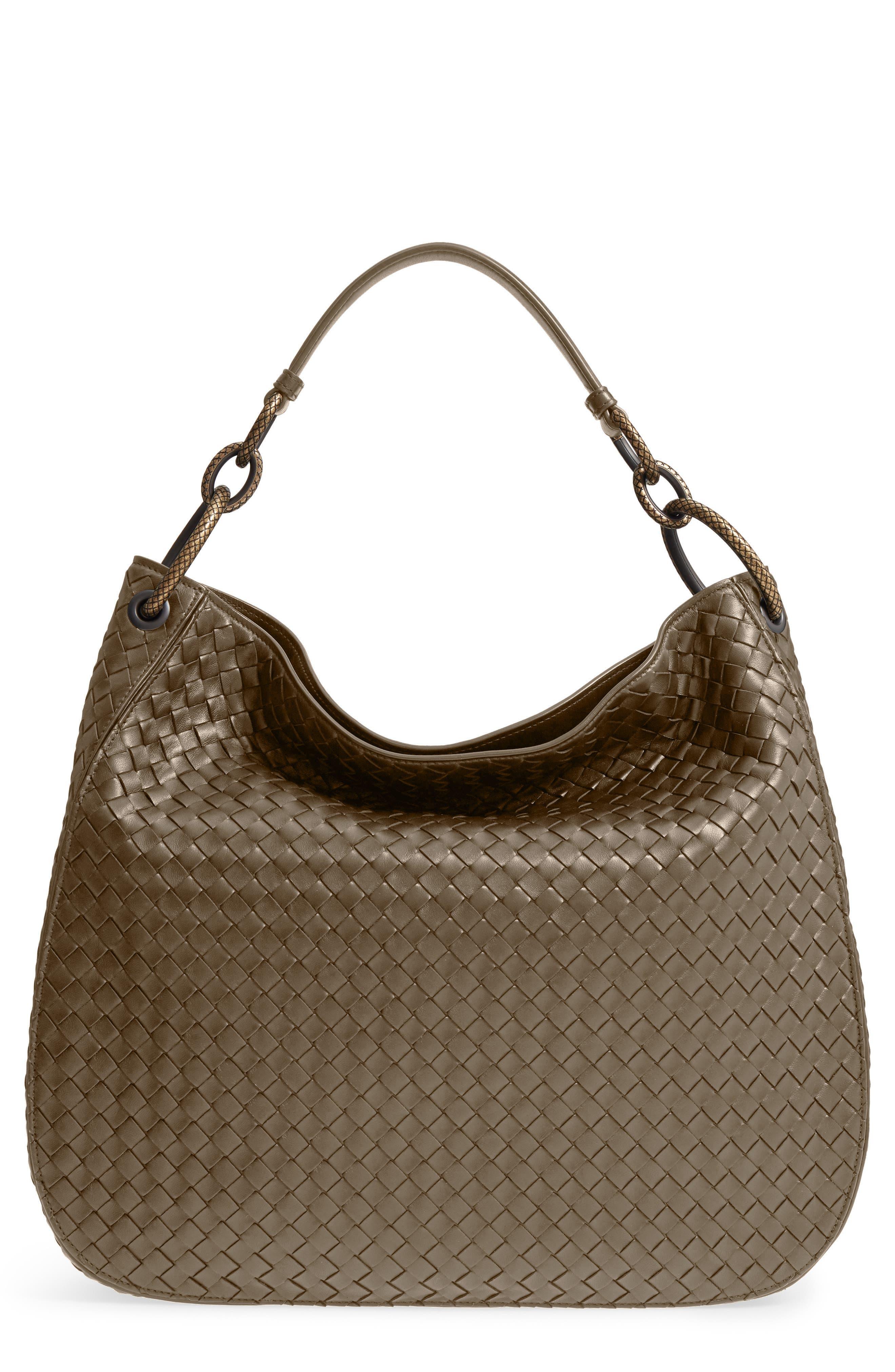 BOTTEGA VENETA,                             Large Loop Woven Leather Hobo,                             Main thumbnail 1, color,                             LIMESTONE