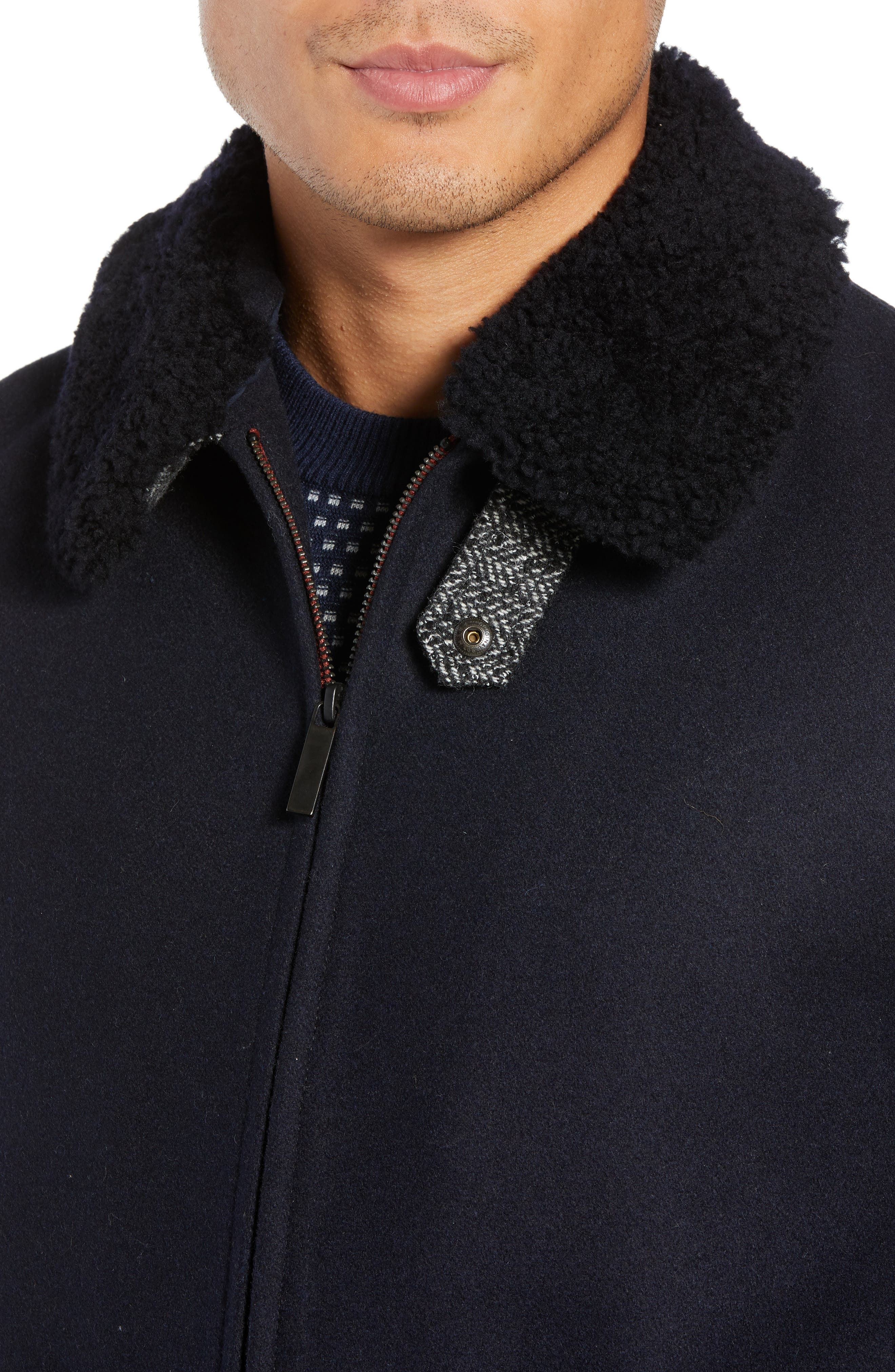 Faux Shearling Trim Wool Blend Jacket,                             Alternate thumbnail 4, color,                             NAVY
