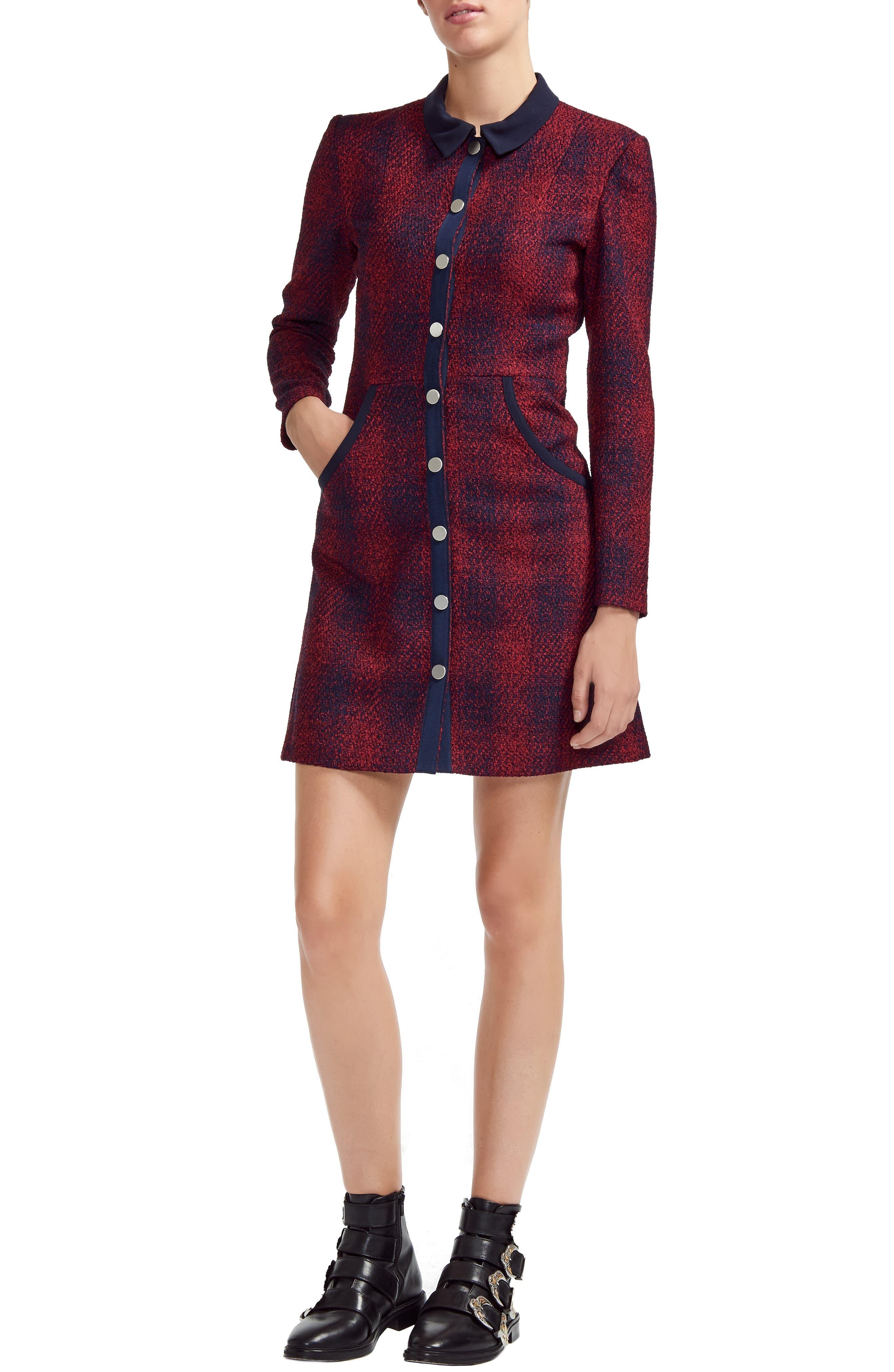 Renitia Tweed Mini Shirt Dress in Checked