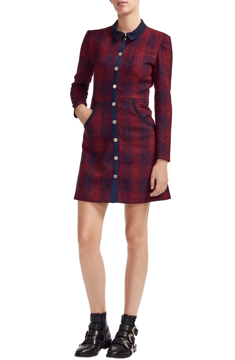 Renitia Shirt Tweed Checked Maje Mini Modesens In Dress d86xqO