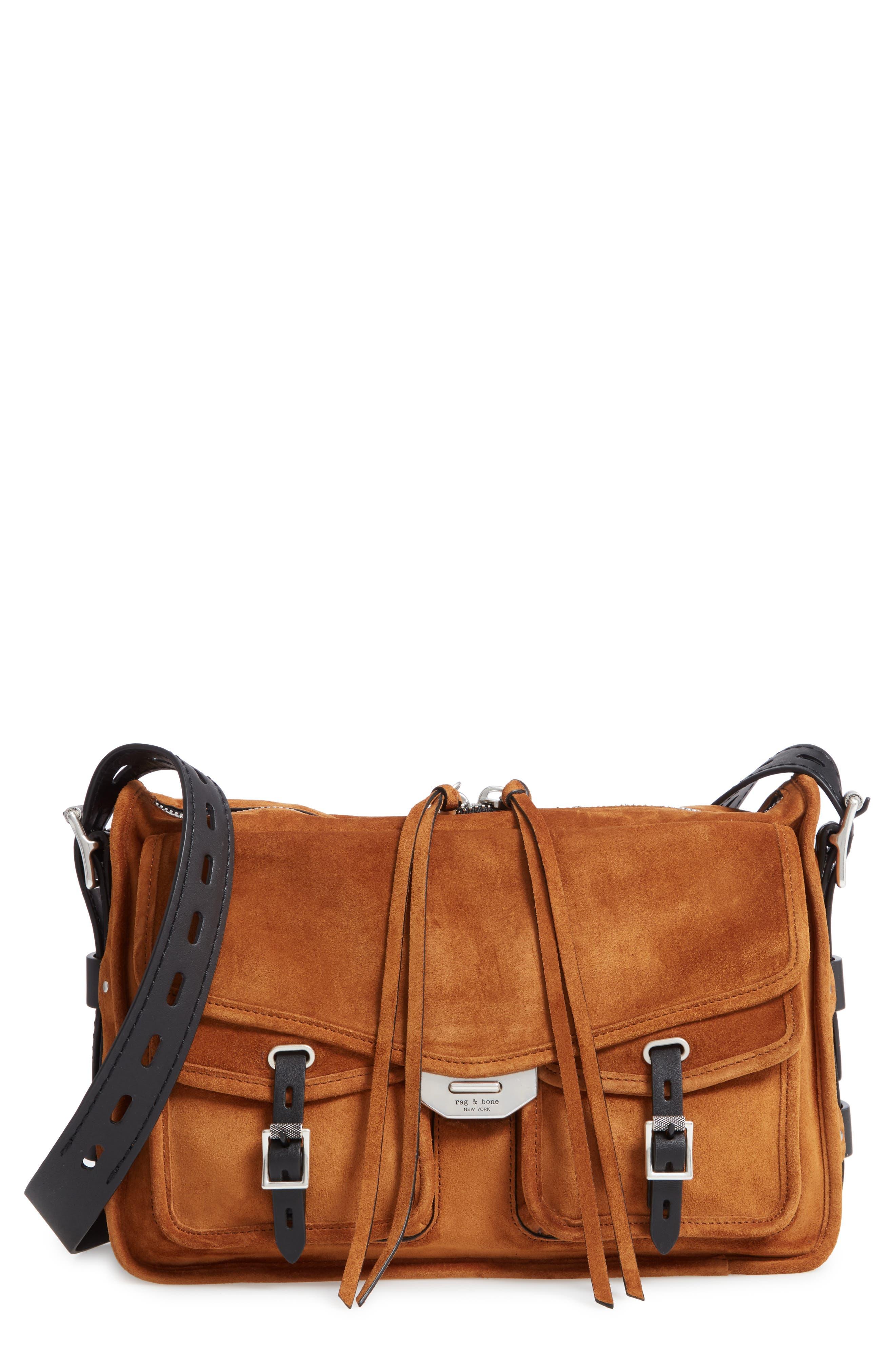 Field Leather Messenger Bag,                             Main thumbnail 1, color,                             TAN SUEDE