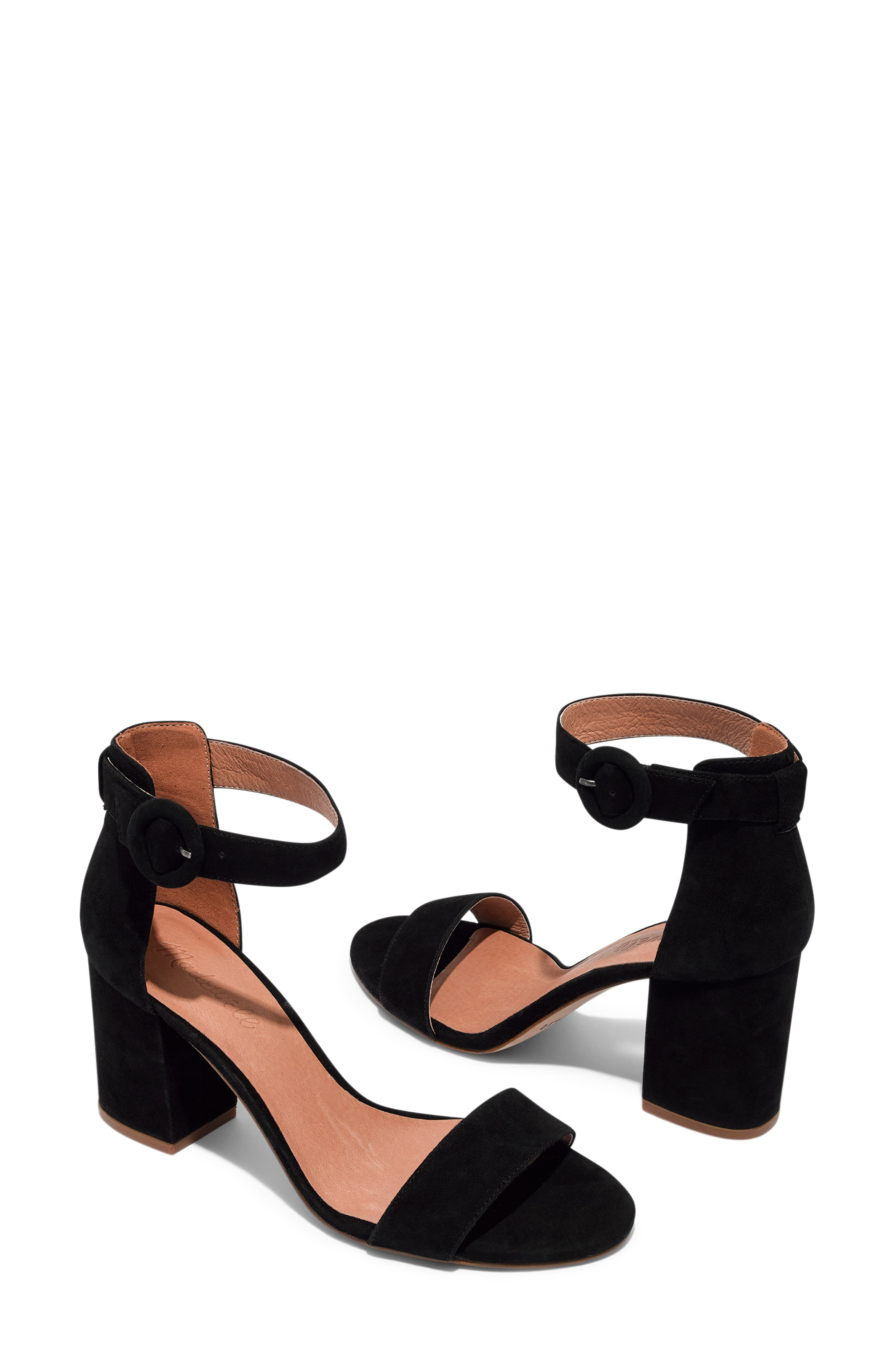The Regina Ankle Strap Sandal,                             Alternate thumbnail 7, color,                             TRUE BLACK SUEDE