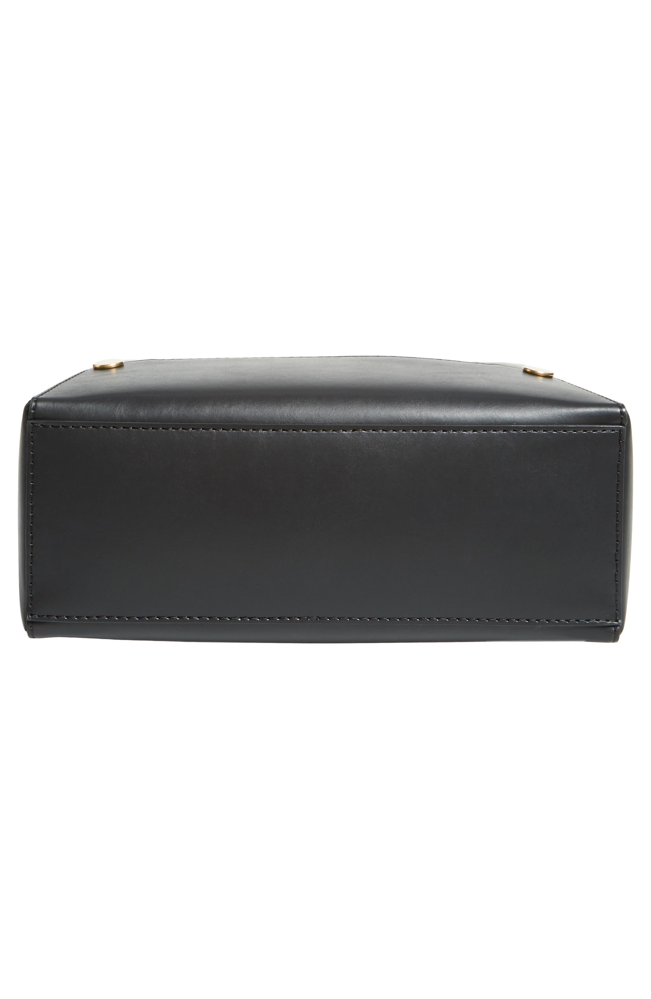 Faux Leather Bucket Bag,                             Alternate thumbnail 6, color,                             001