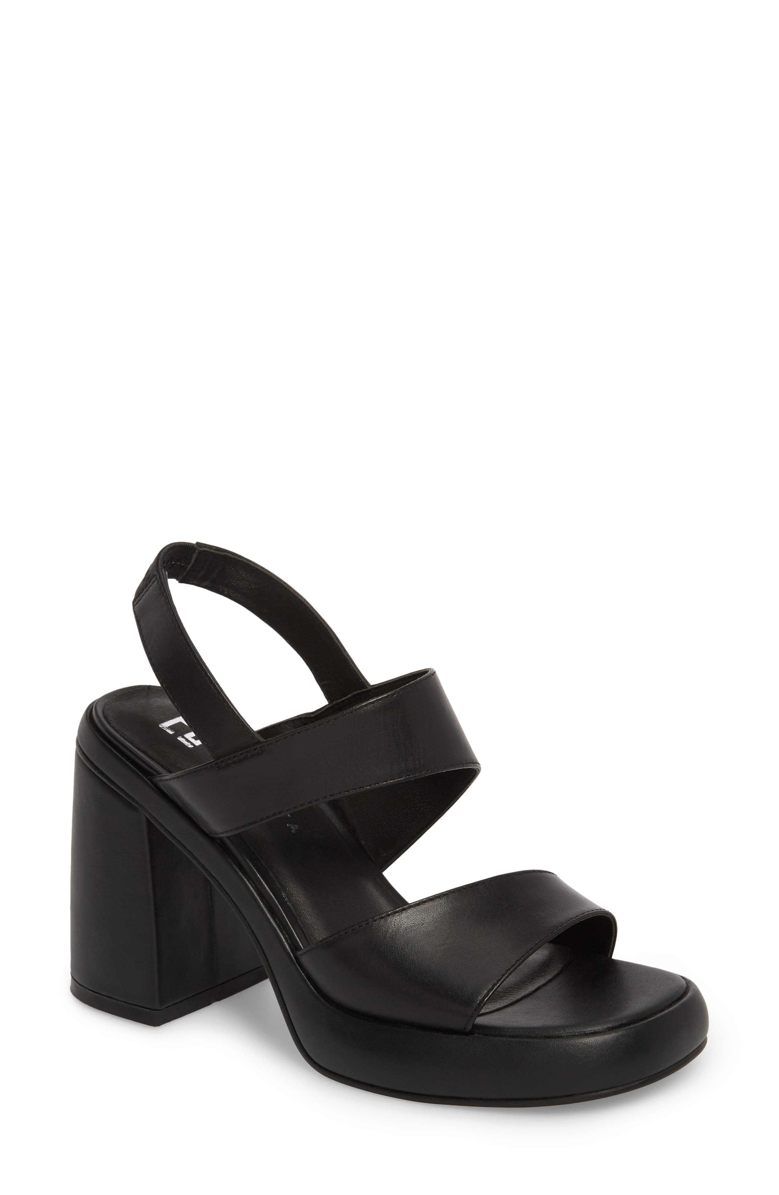 Block Heel Sandal,                         Main,                         color, BLACK LEATHER