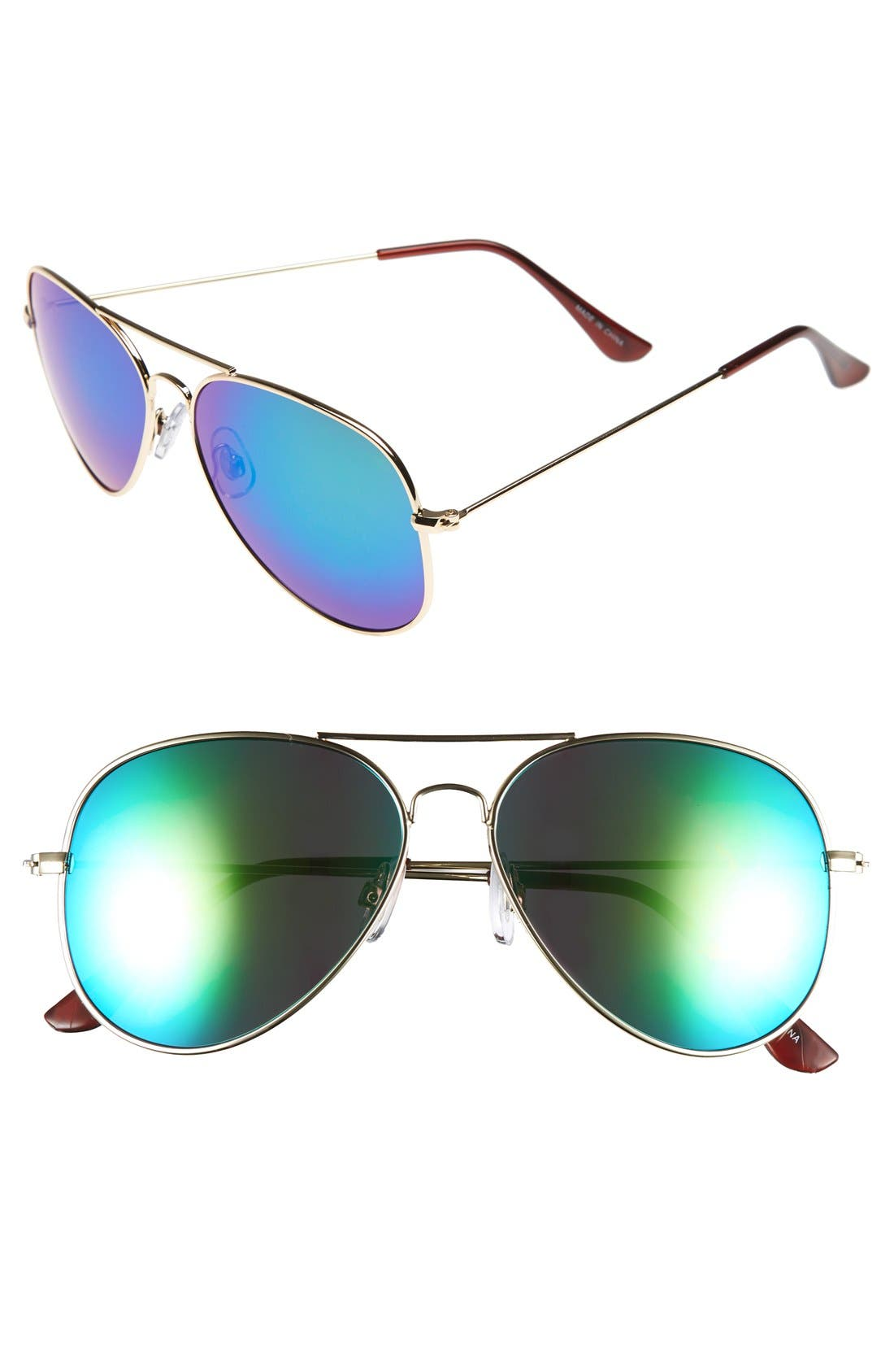 Mirrored Aviator 57mm Sunglasses,                             Main thumbnail 2, color,