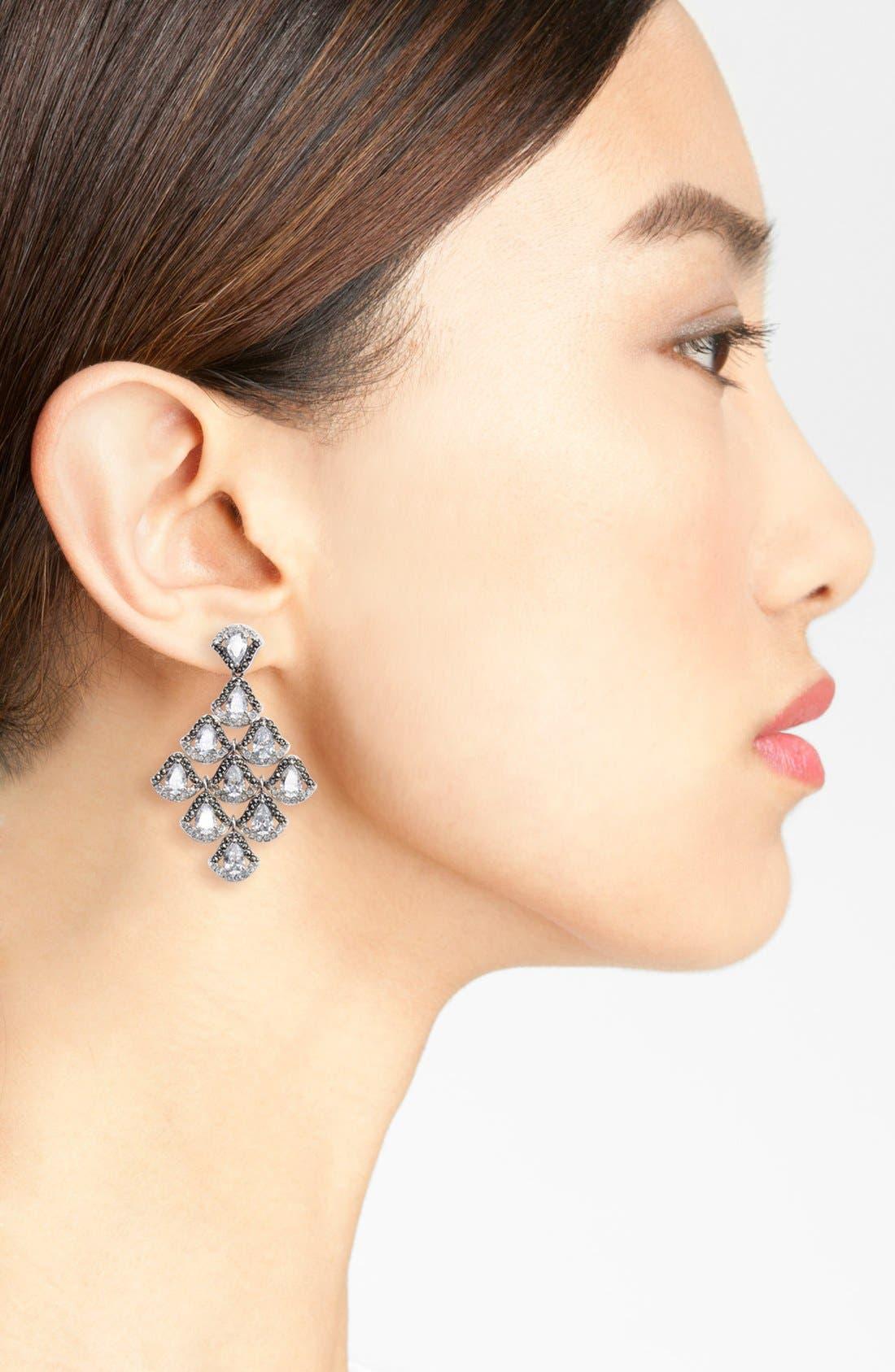 Semiprecious Stone Chandelier Earrings,                             Alternate thumbnail 2, color,                             SILVER