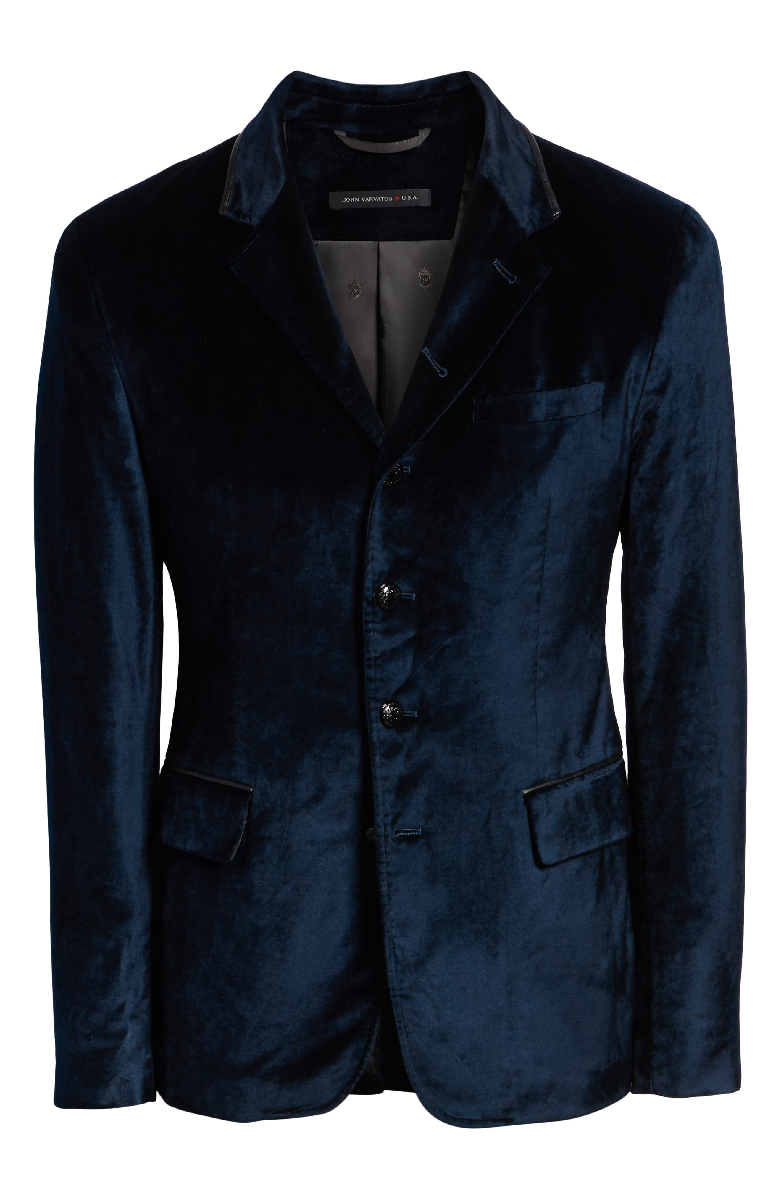 Velvet Jacket with Leather Trim,                             Alternate thumbnail 5, color,                             SAPPHIRE