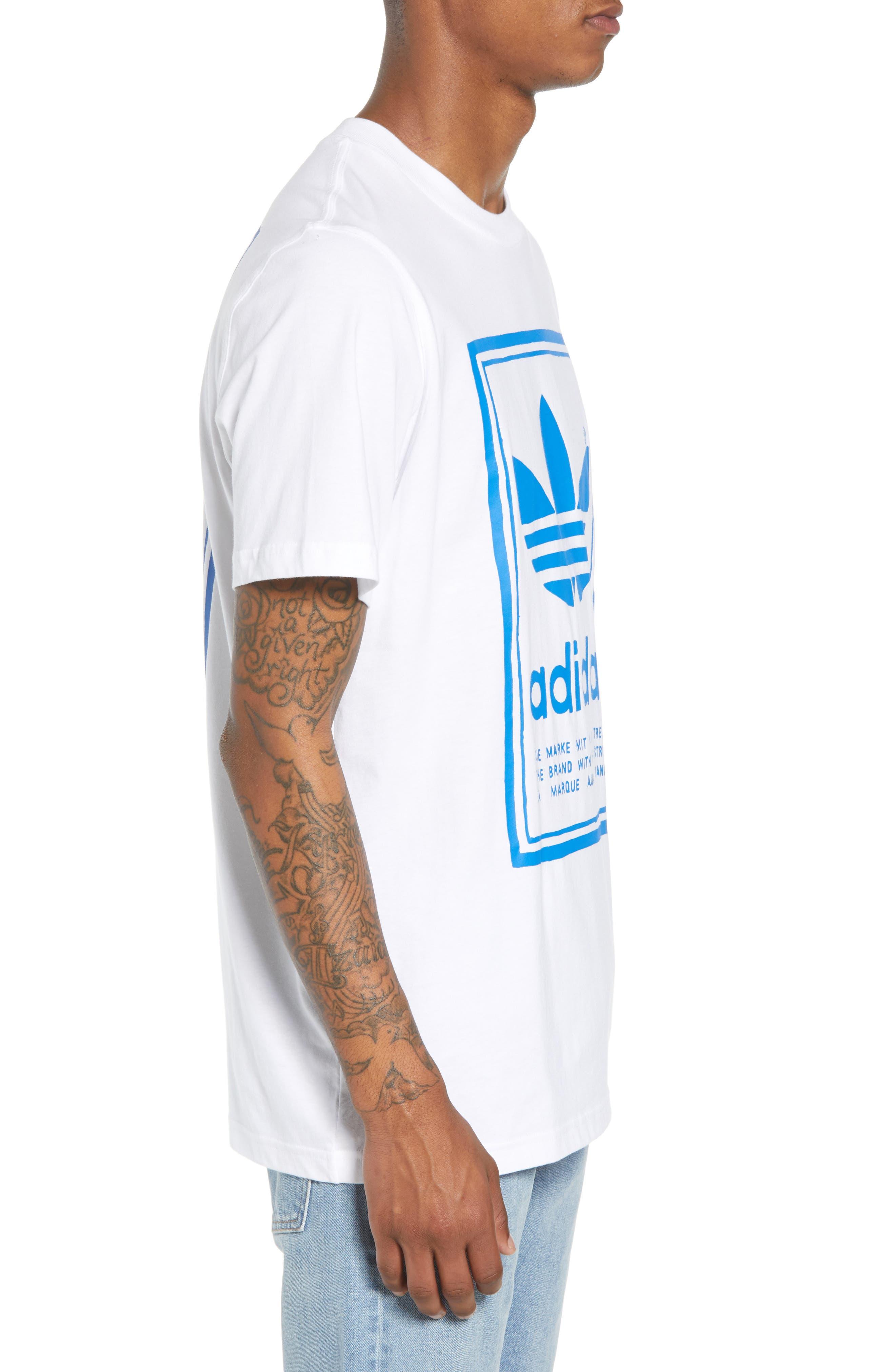 adidas Vintage Logo Graphic T-Shirt,                             Alternate thumbnail 3, color,                             100