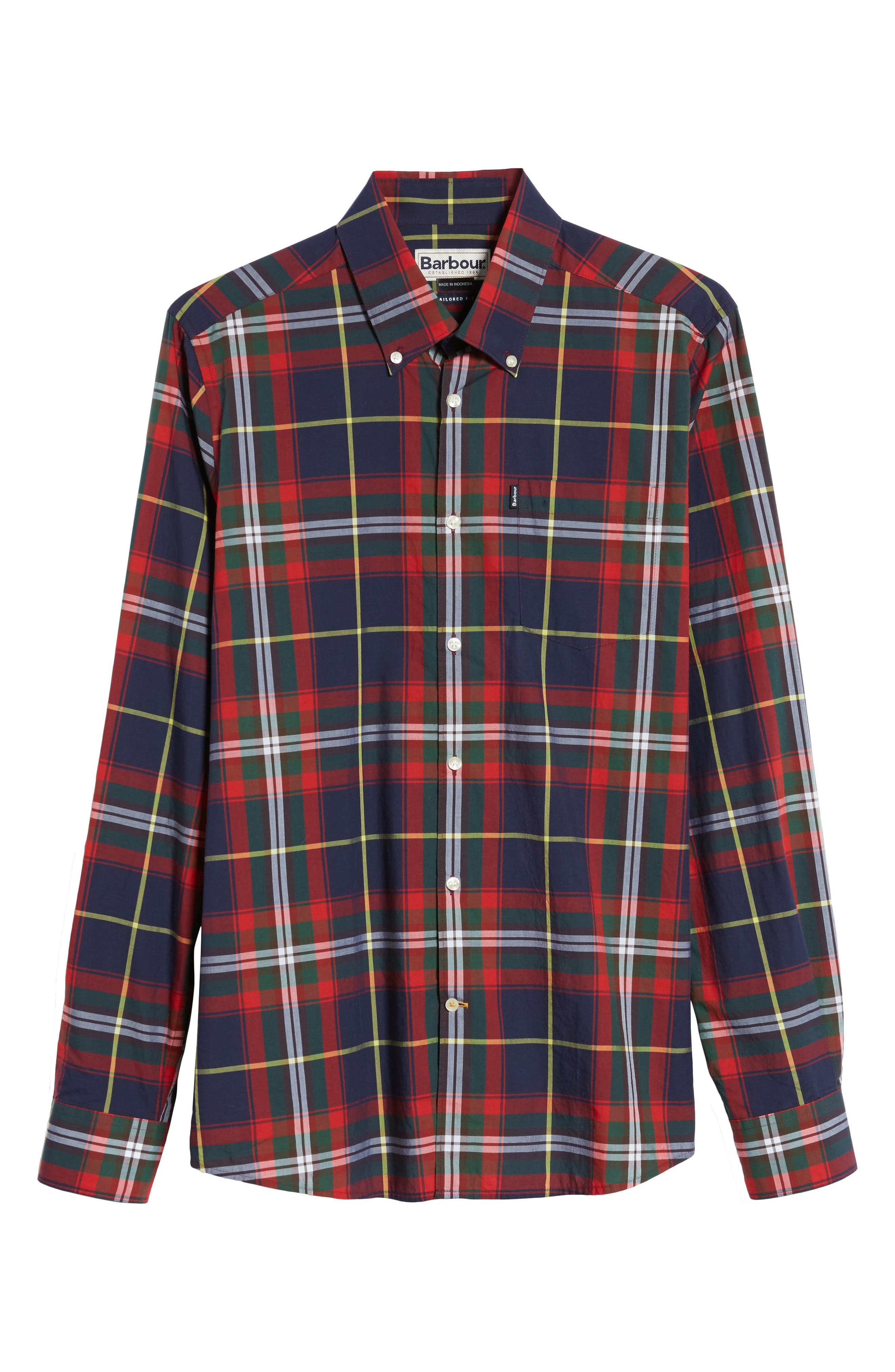 Oscar Trim Fit Plaid Sport Shirt,                             Alternate thumbnail 6, color,                             410