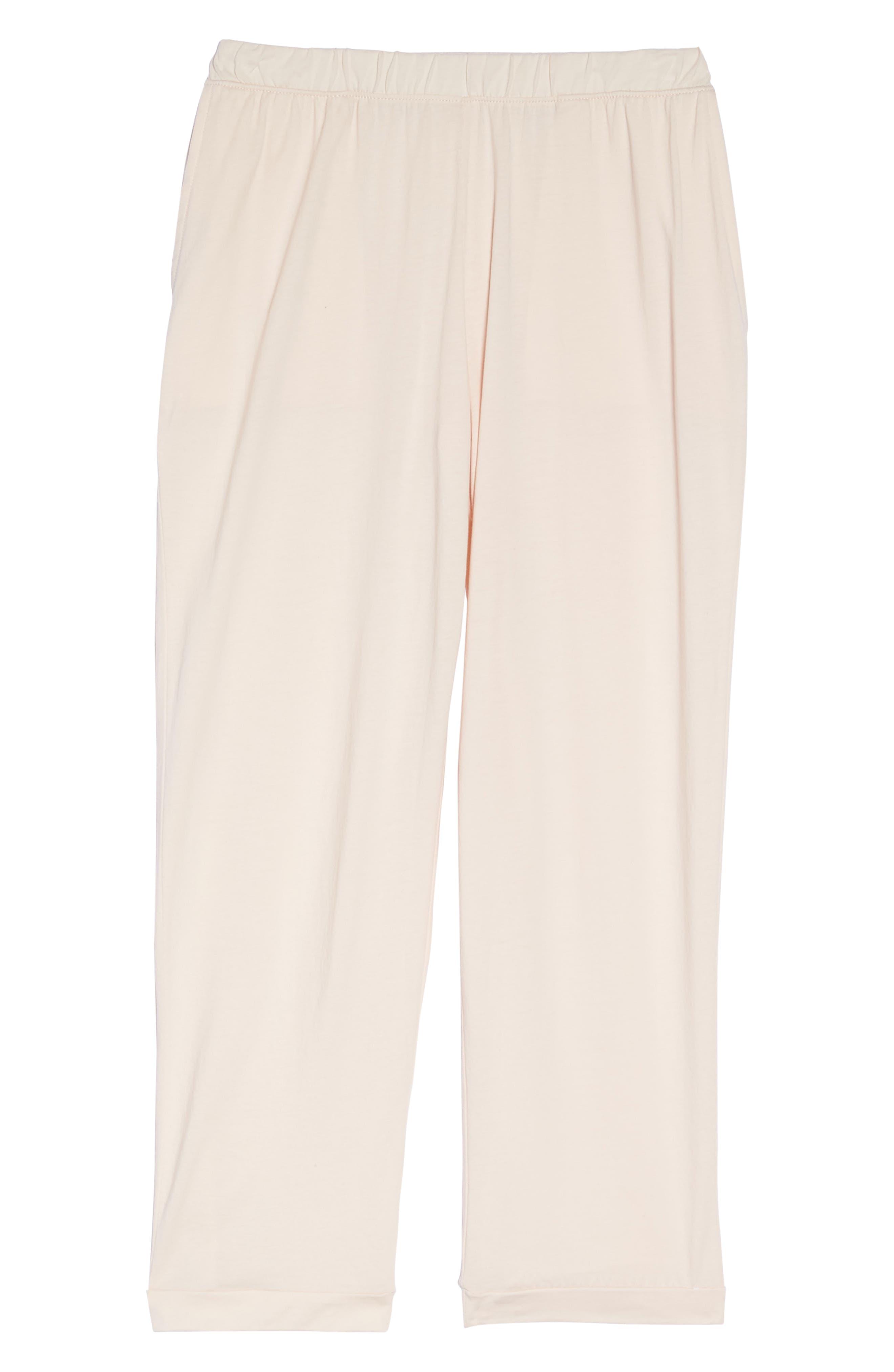 Parisa Crop Pima Cotton Lounge Pants,                             Alternate thumbnail 6, color,                             689