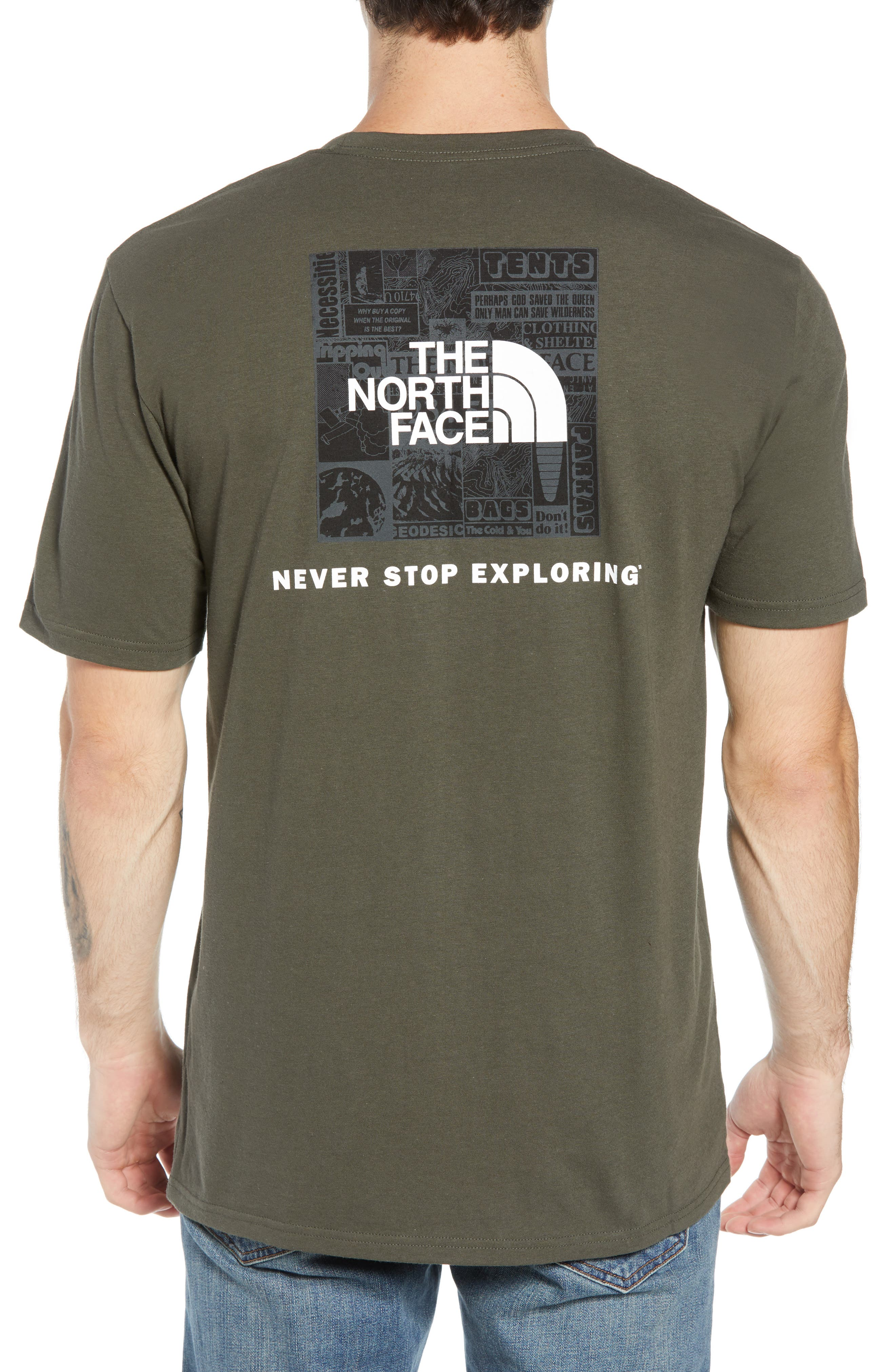 'Red Box' Graphic T-Shirt,                             Alternate thumbnail 2, color,                             TAUPE GREEN/ TNF BLACK