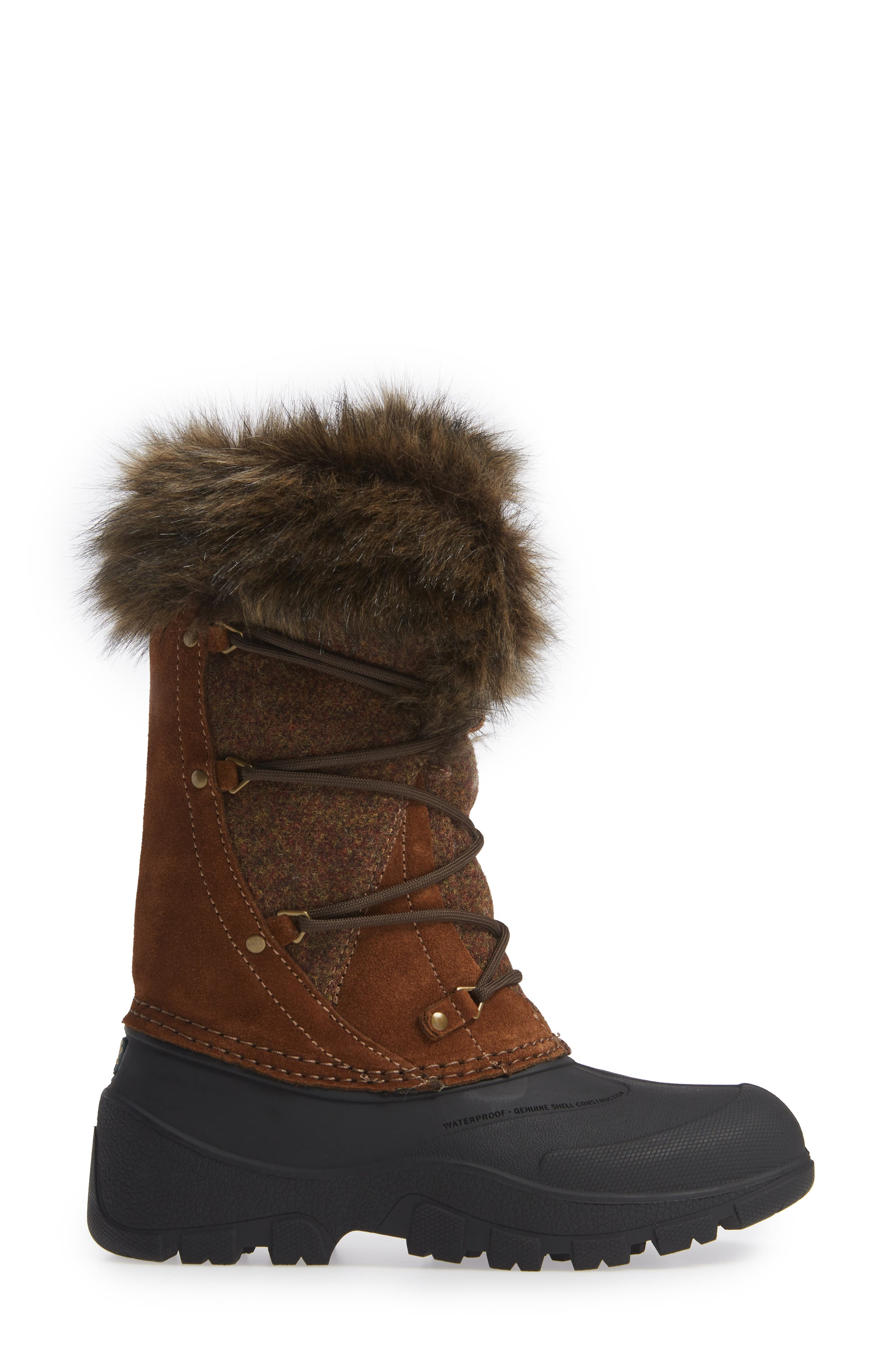 Ice Cougar Waterproof Knee High Winter Boot with Faux Fur Trim,                             Alternate thumbnail 3, color,                             DACHSHUND WOOL