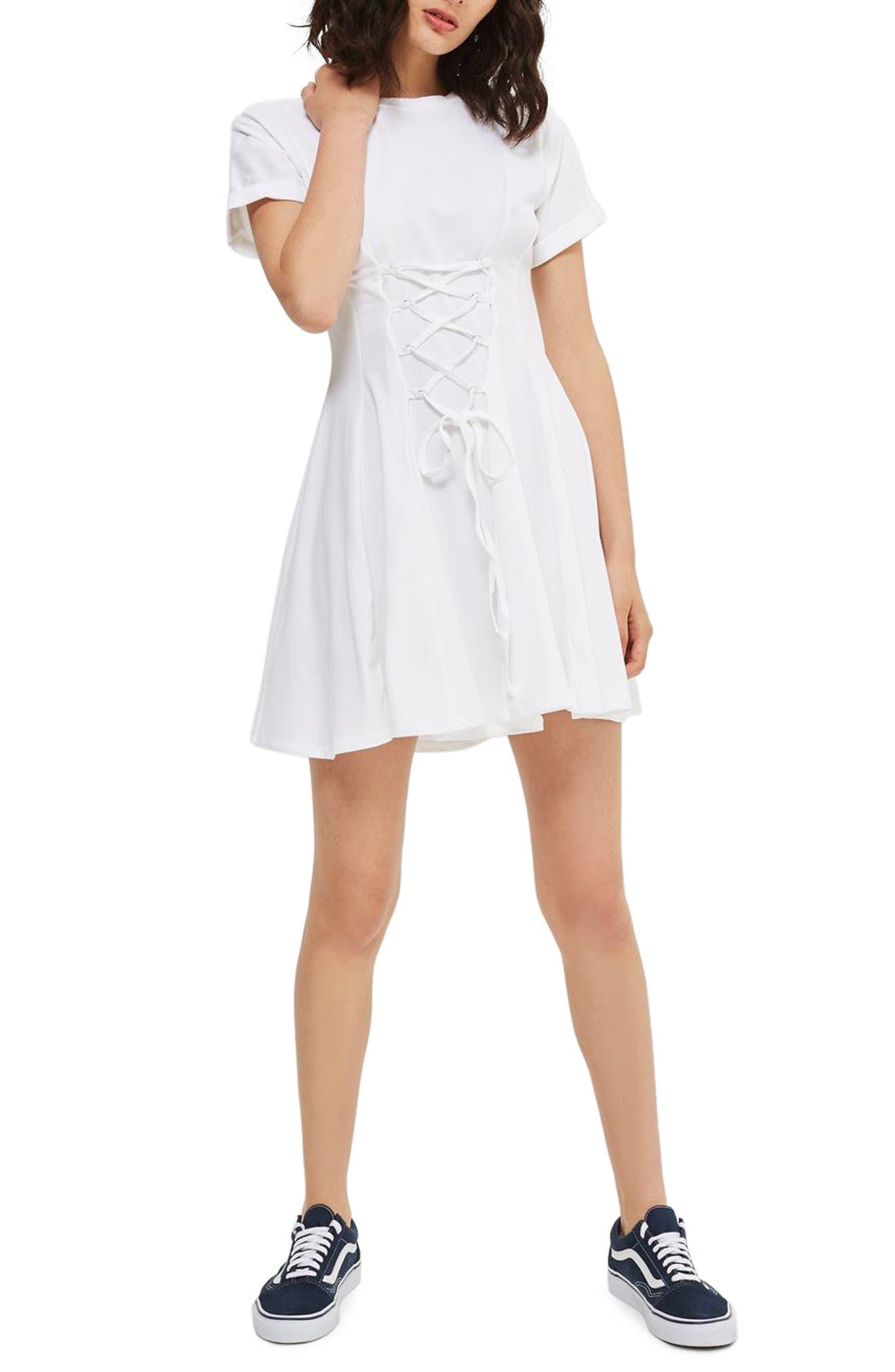 Corset Front Flippy Tunic Dress,                             Main thumbnail 3, color,