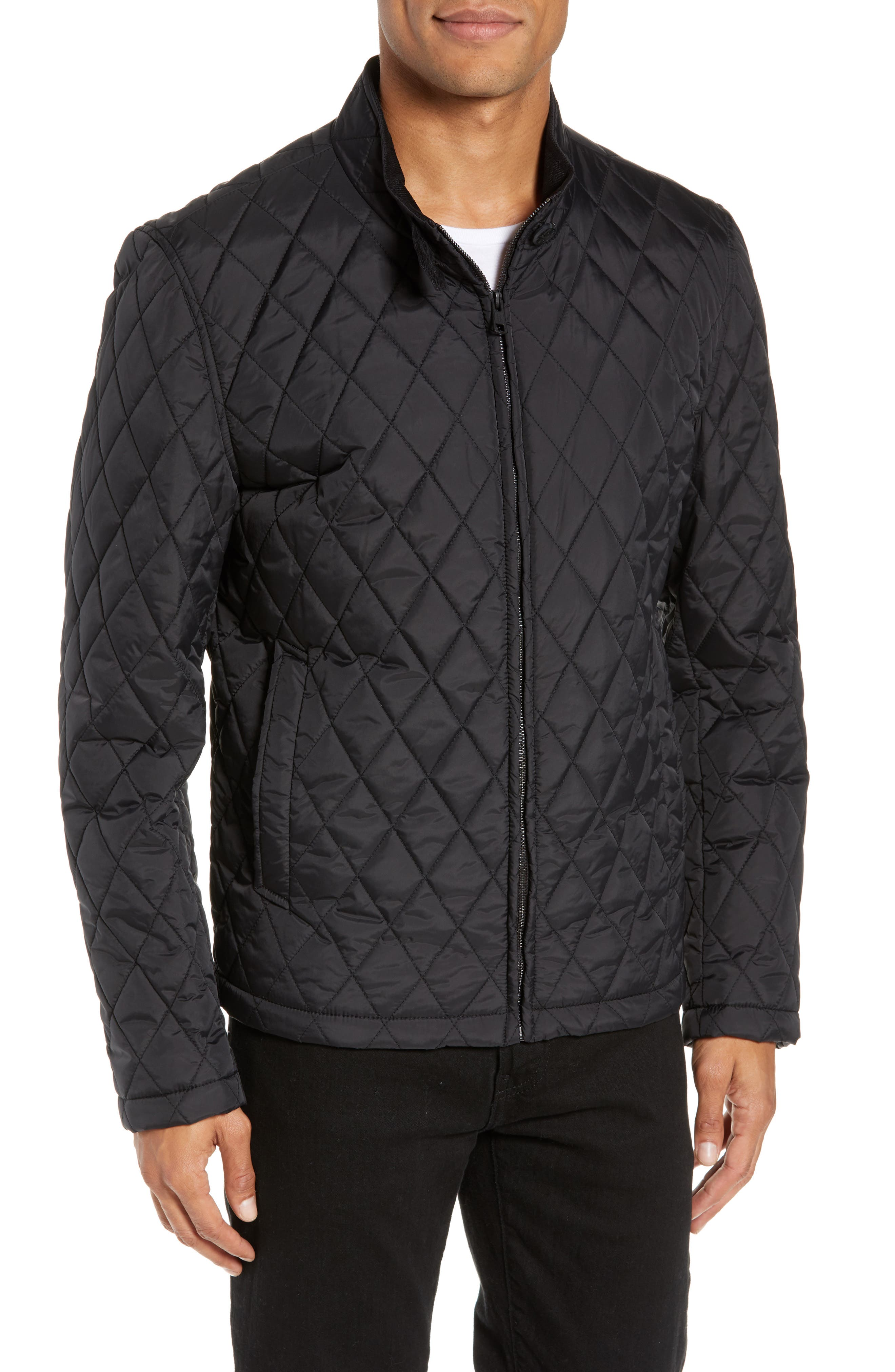Quilted Moto Jacket,                             Alternate thumbnail 4, color,                             BLACK