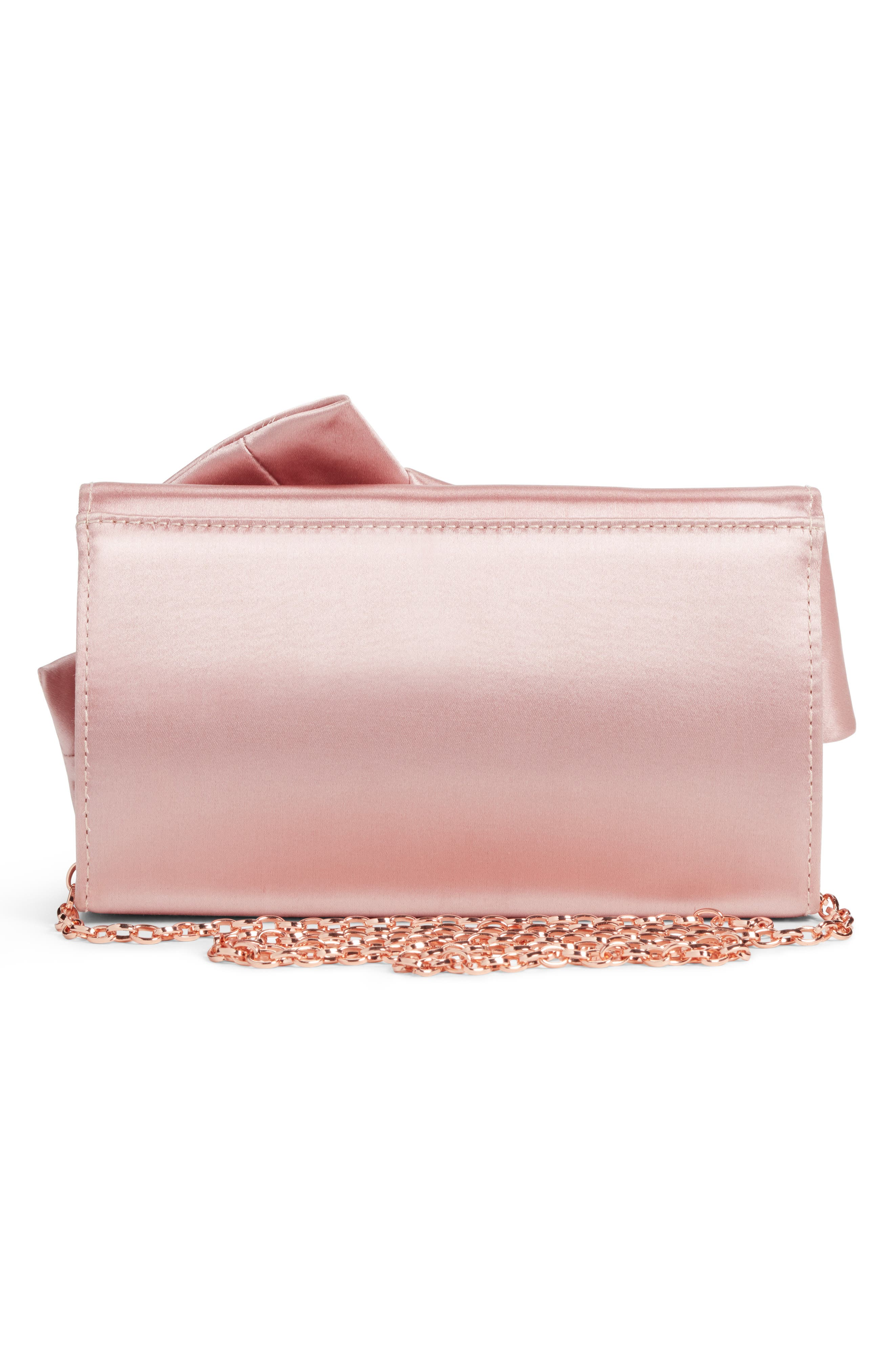 Fefee Satin Knotted Bow Clutch,                             Alternate thumbnail 6, color,