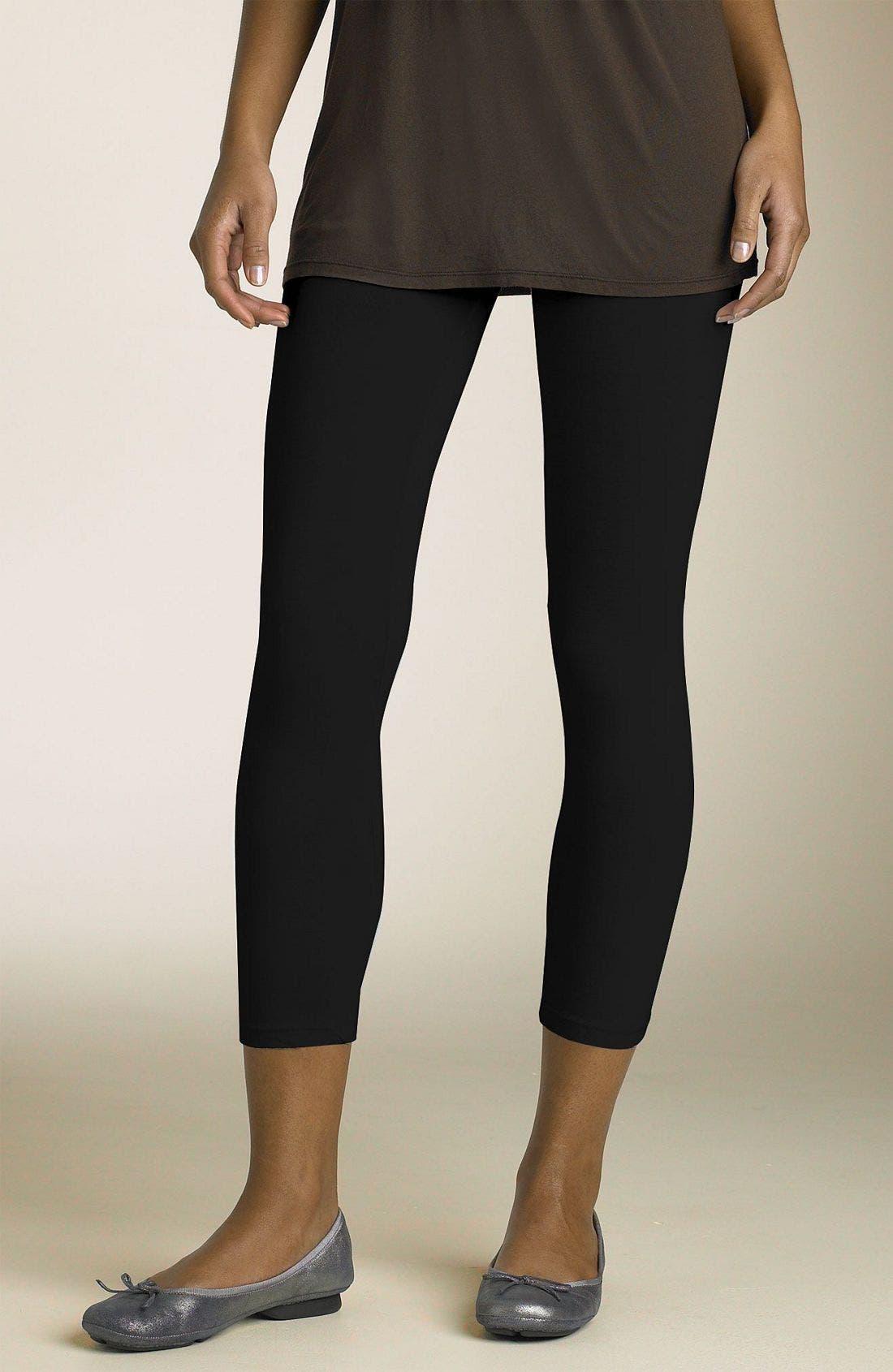 Crop Stretch Knit Leggings,                         Main,                         color, BLACK