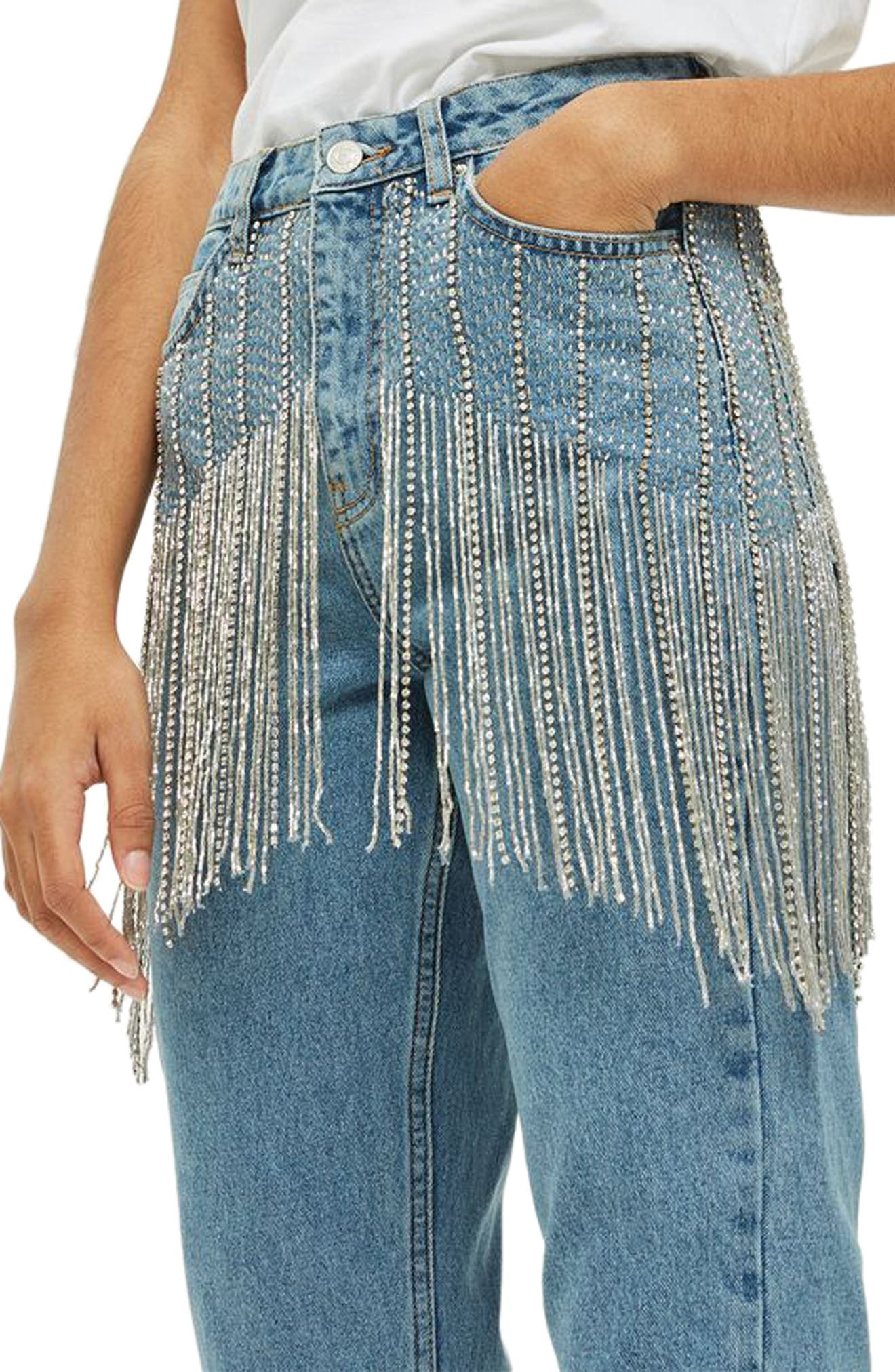 Diamante Crystal Fringe Mom Jeans,                             Alternate thumbnail 4, color,