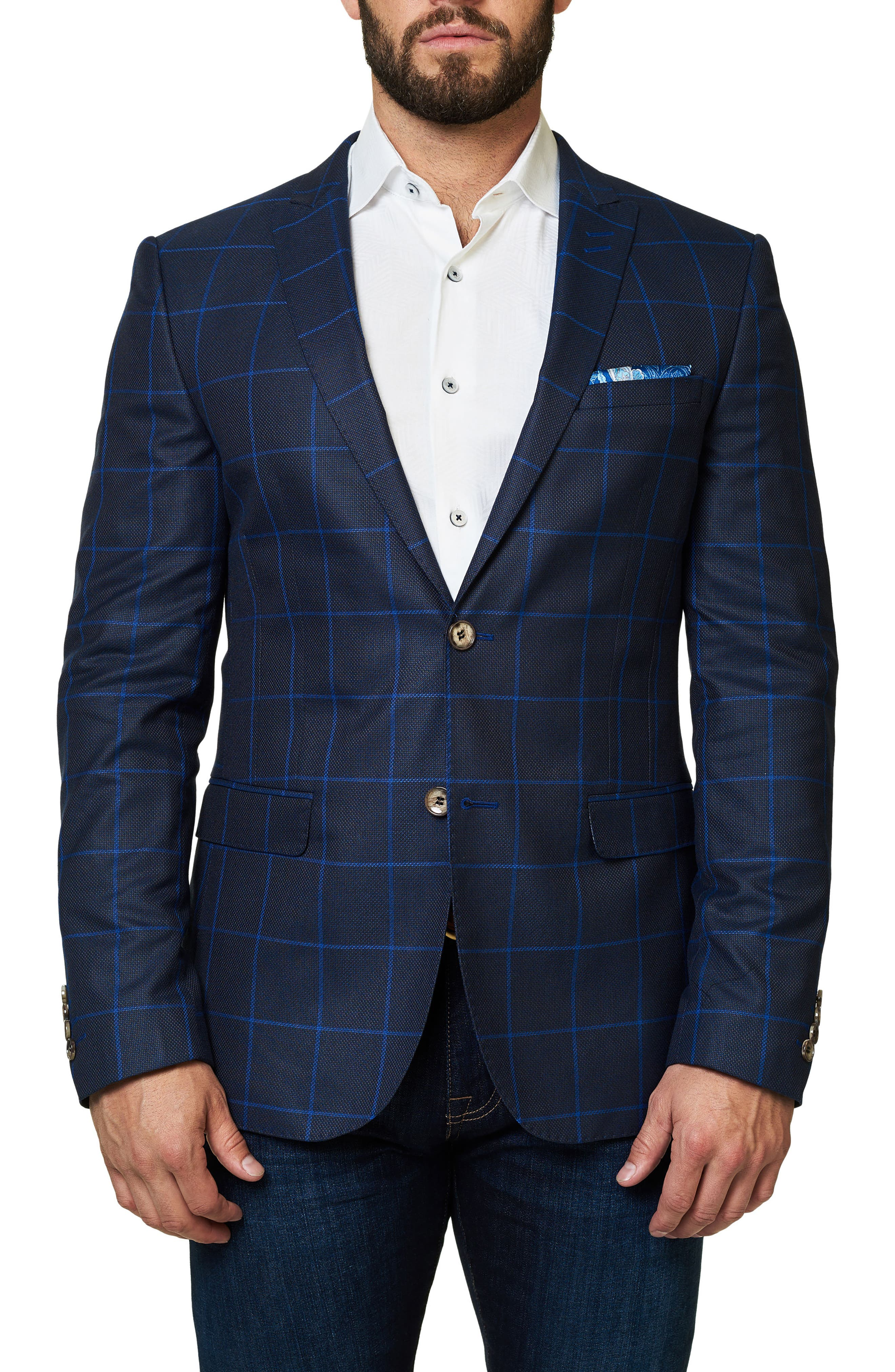 Descarte Windowpane Sport Coat,                         Main,                         color, 420