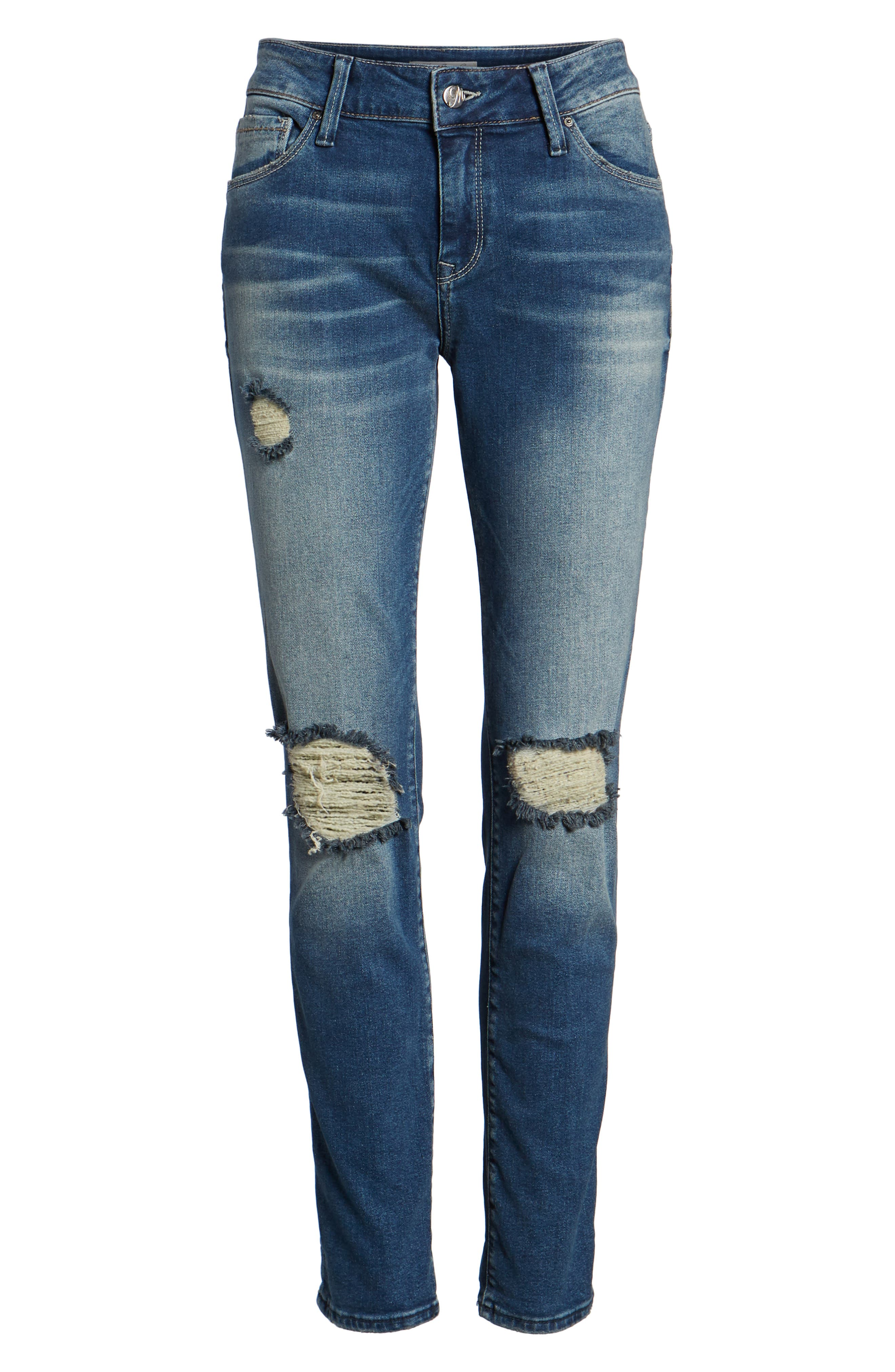 Ada Ripped Boyfriend Jeans,                             Alternate thumbnail 7, color,                             MID RIPPED VINTAGE