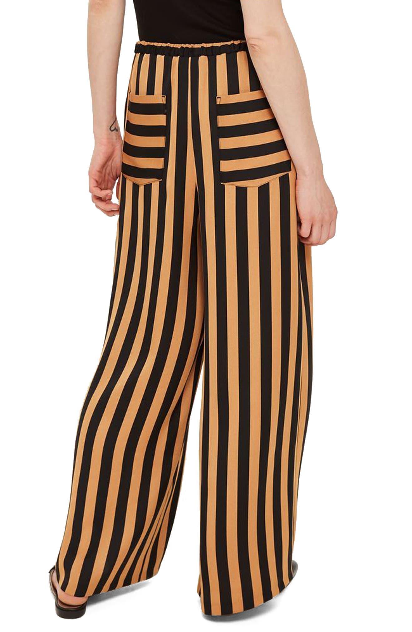 Stripe Wide Leg Trousers,                             Alternate thumbnail 2, color,                             001