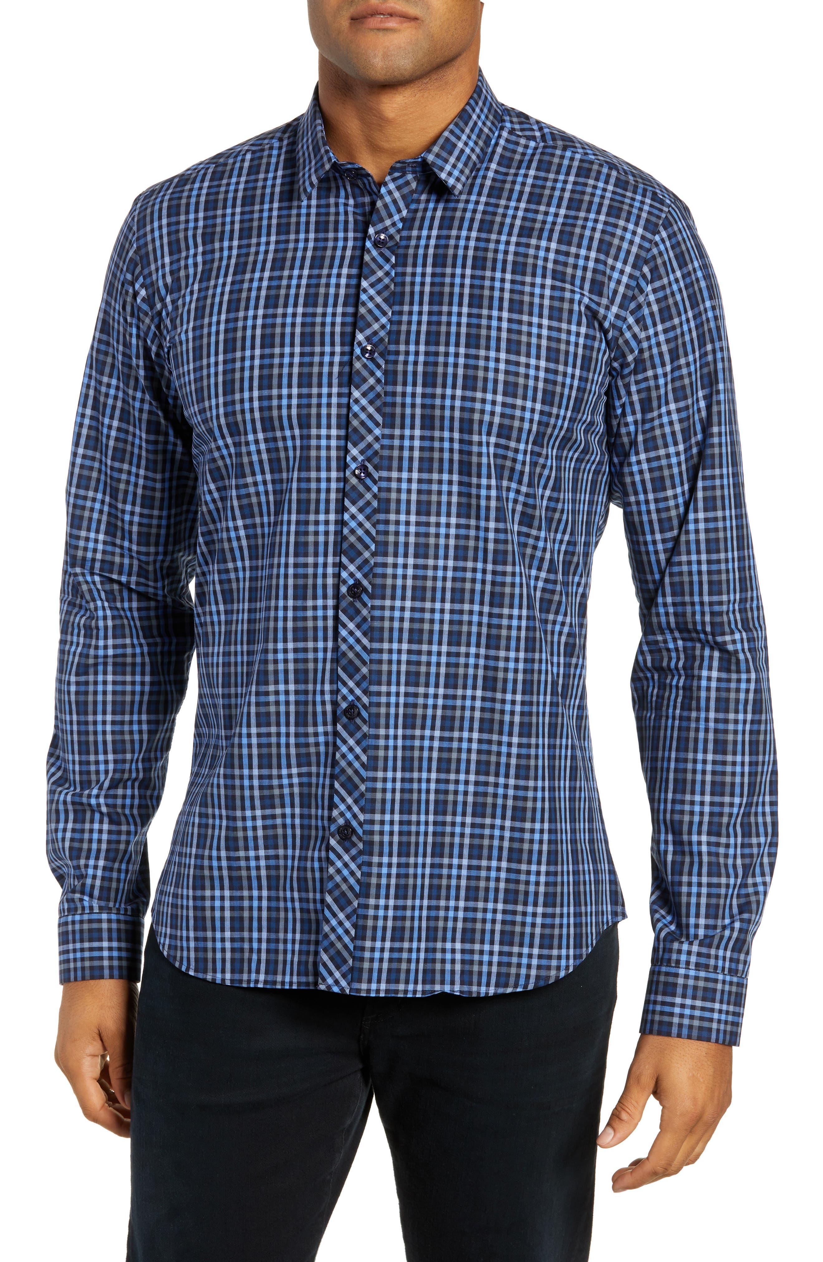 Trim Fit Sport Shirt,                         Main,                         color, NAVY - BLUE MULTI CHECK