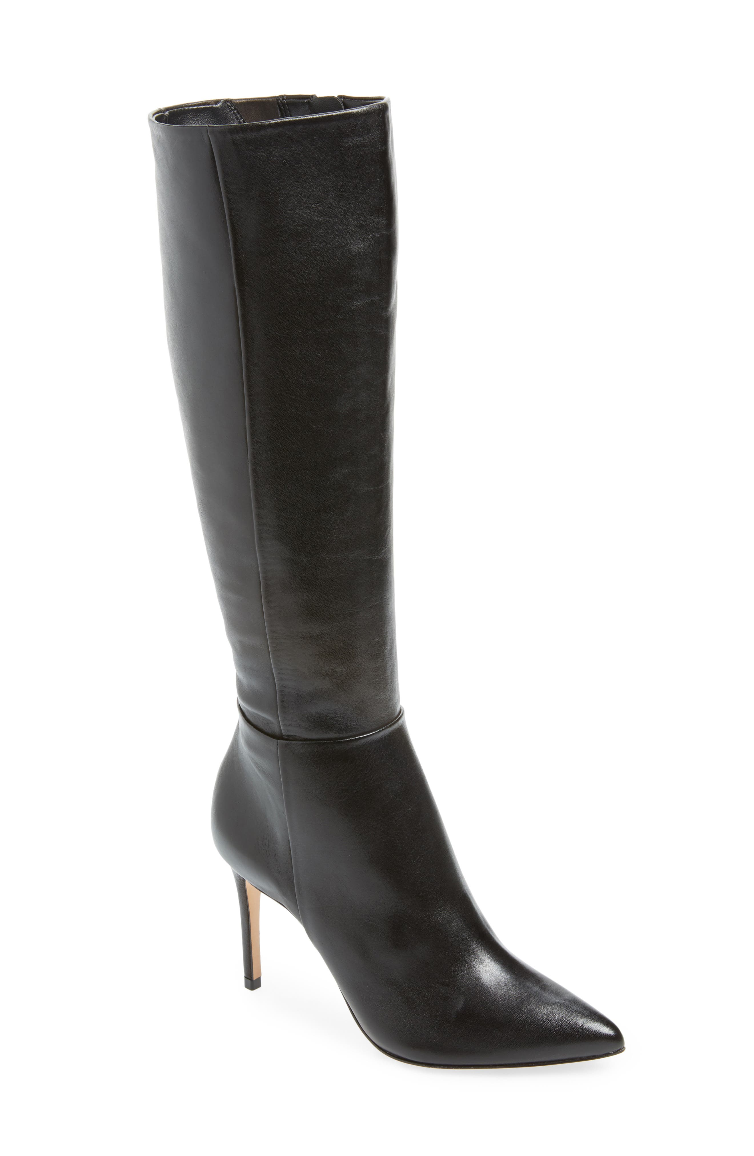 Magalli Knee High Boot,                             Main thumbnail 1, color,                             BLACK LEATHER