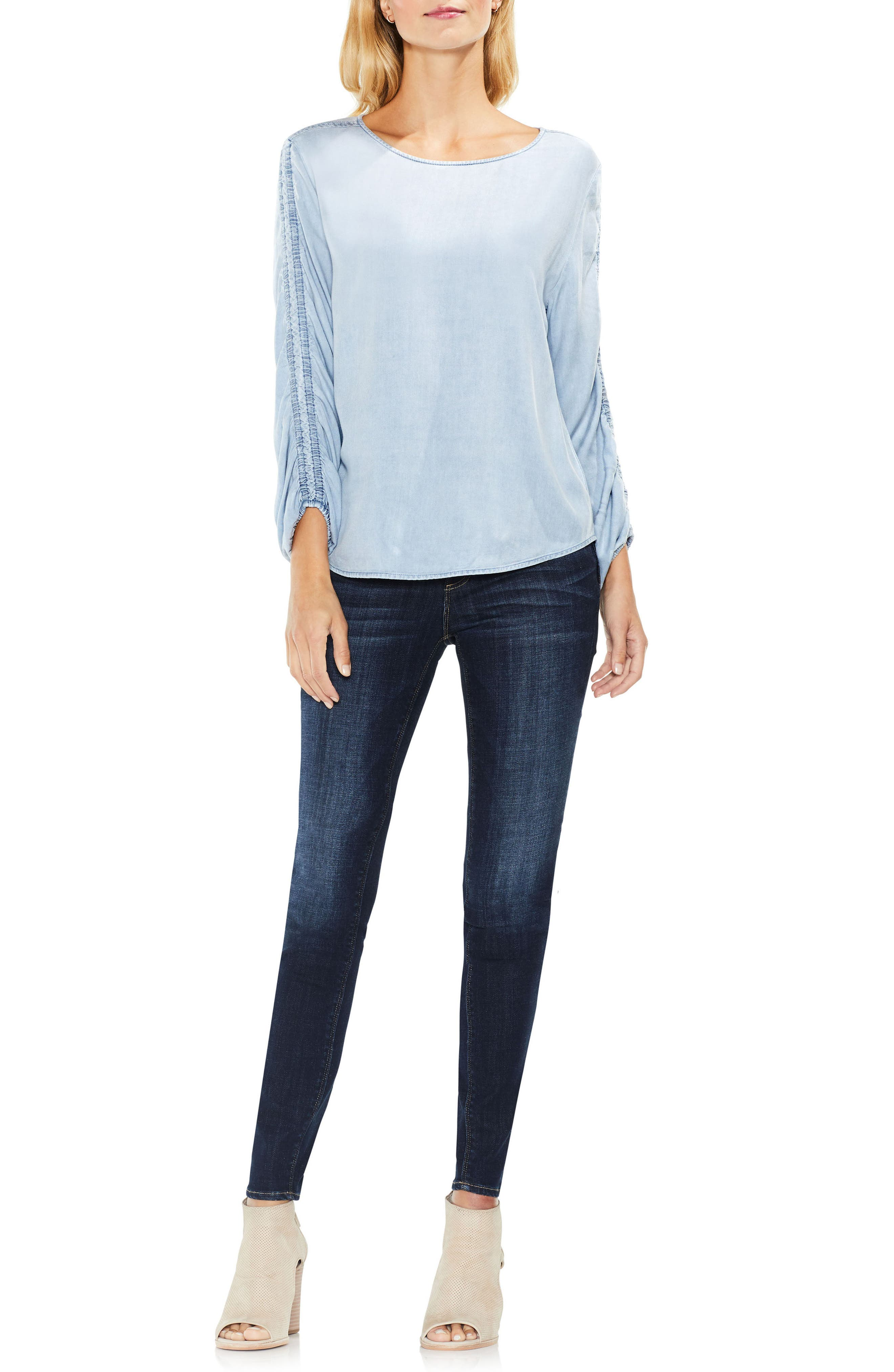 Ruched Sleeve Pastel Fade Top,                             Alternate thumbnail 3, color,                             489