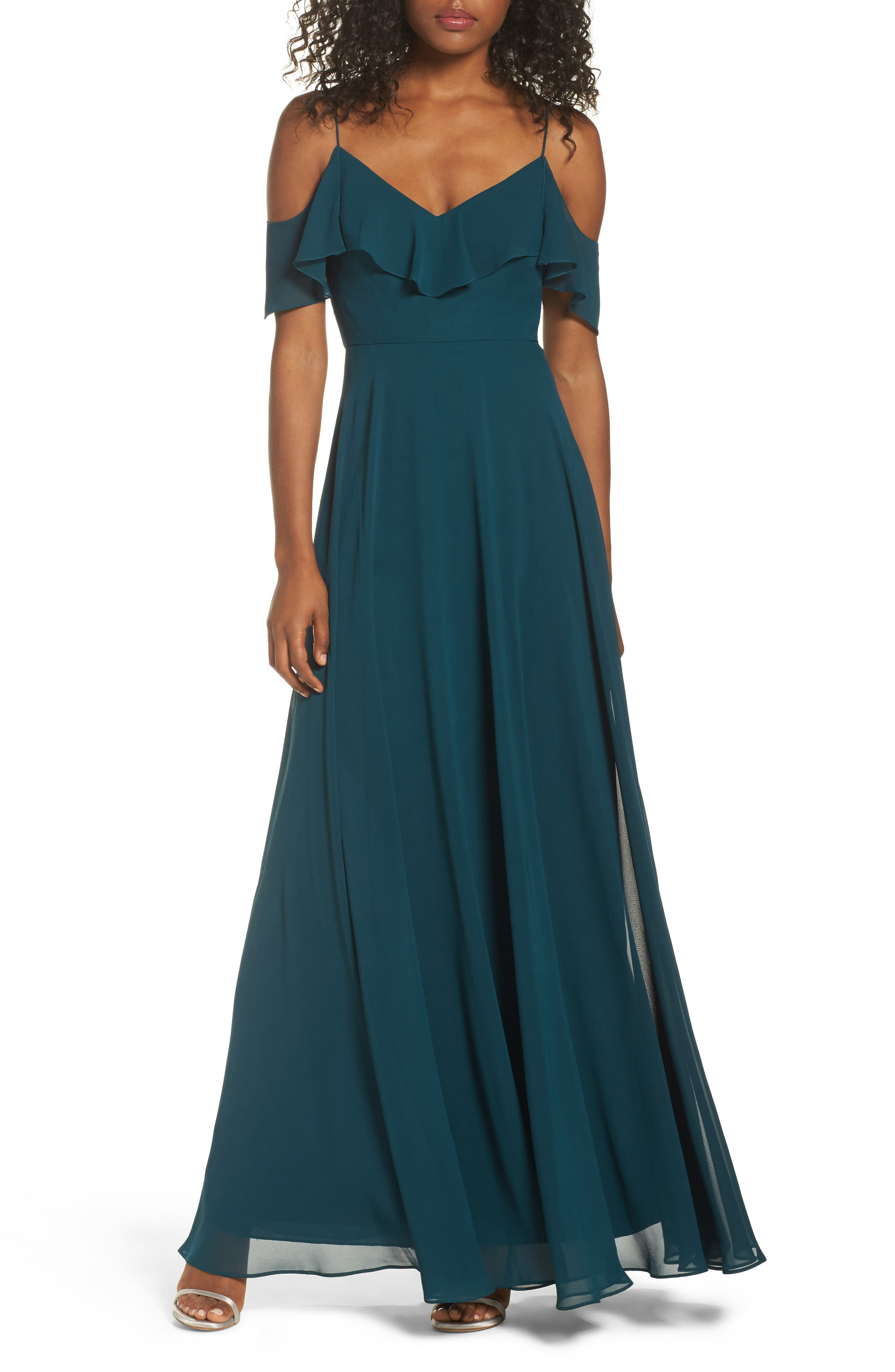 Jenny Yoo Cold Shoulder Chiffon Gown, Blue/green