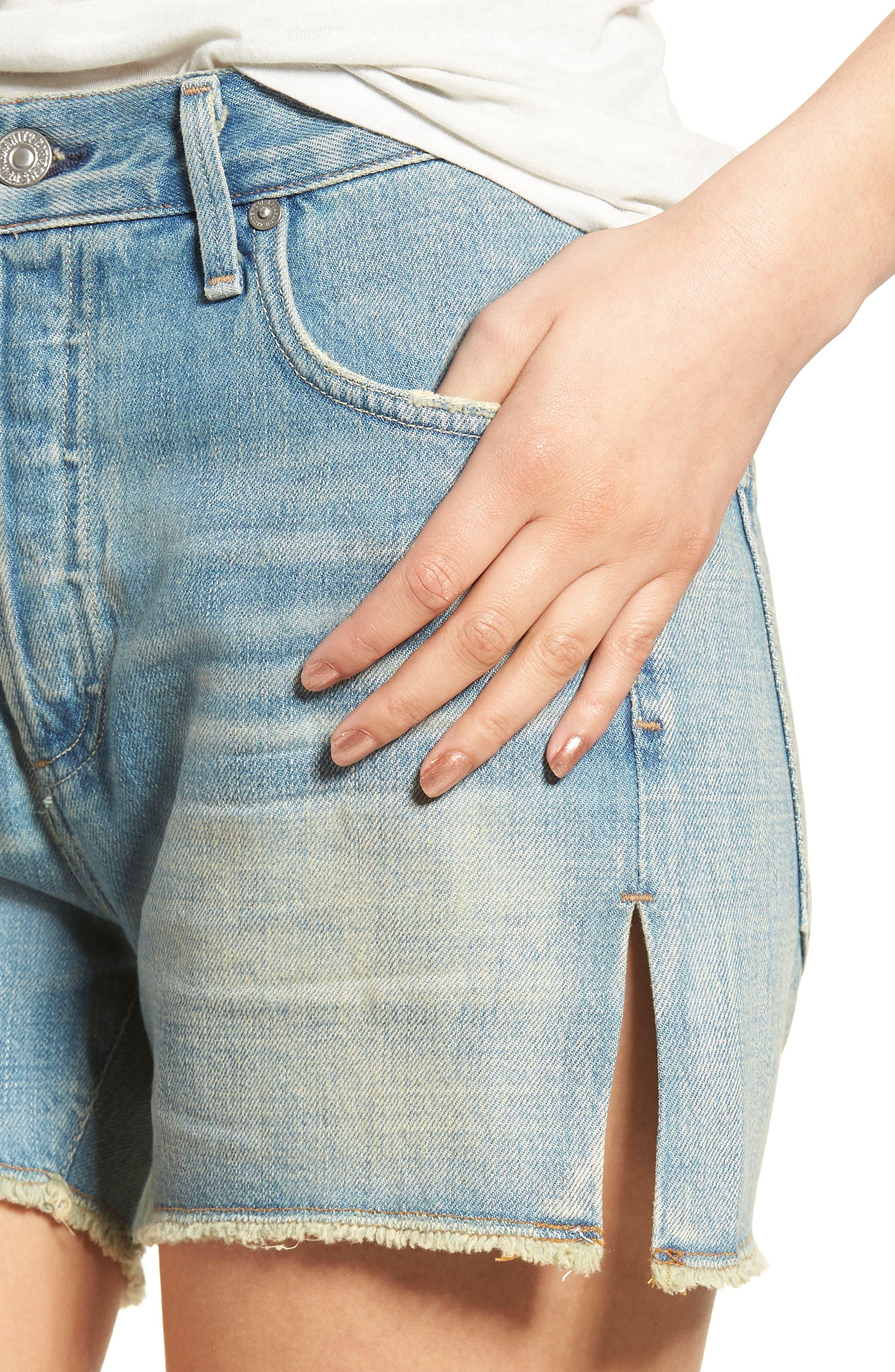 Corey Distressed Slouchy Denim Shorts,                             Alternate thumbnail 4, color,                             460