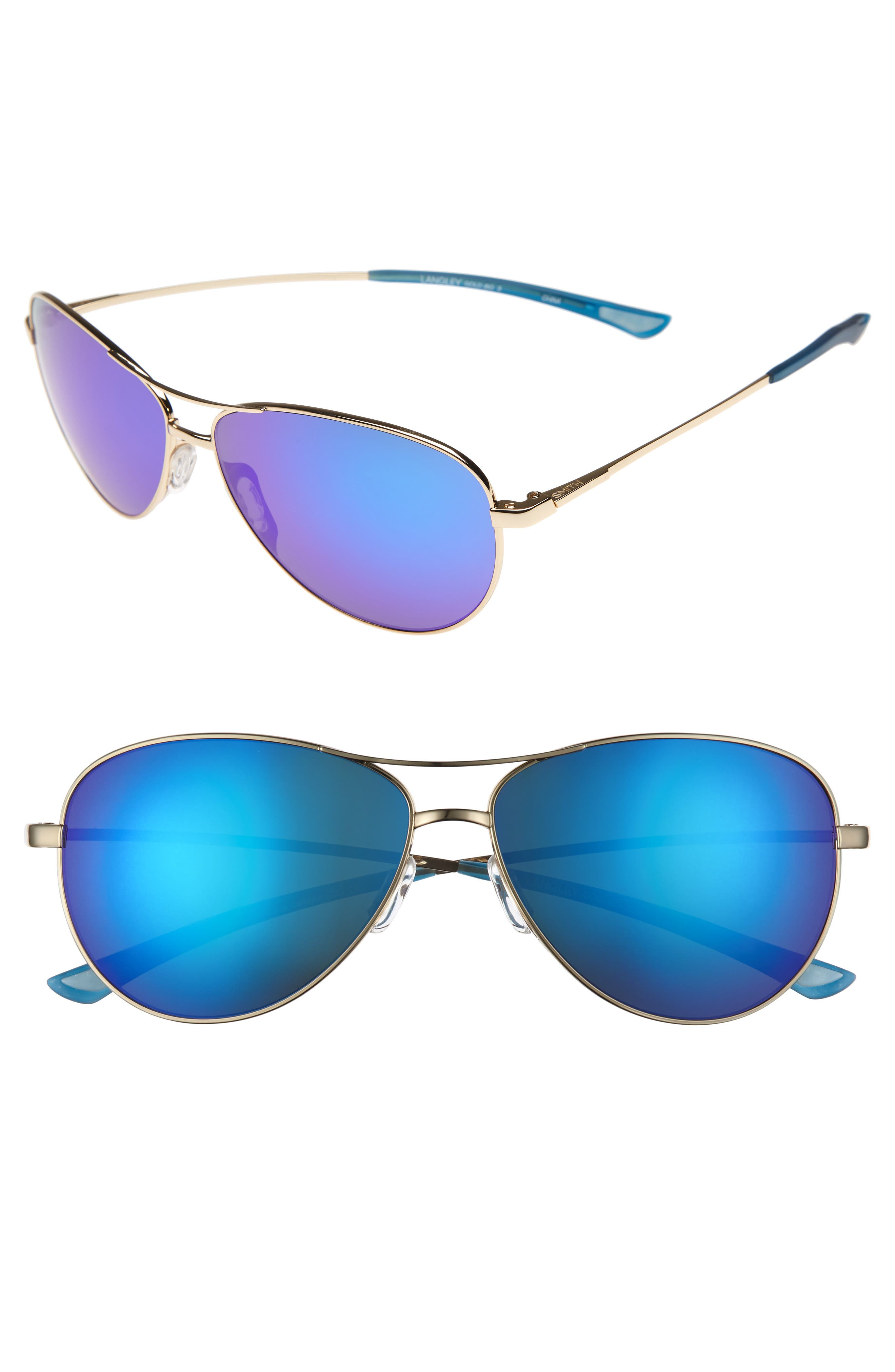 'Langley' 60mm Aviator Sunglasses,                         Main,                         color, GOLD/ BLUE