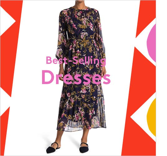 A woman in a flowy, midi-length, long-sleeved, dark floral dress; a woman in a flowy mid-thigh-lenth, long-sleeved, lighter fall floral dress; a woman in a form-fitting, knee-length black dress with a belt tied into a bow.