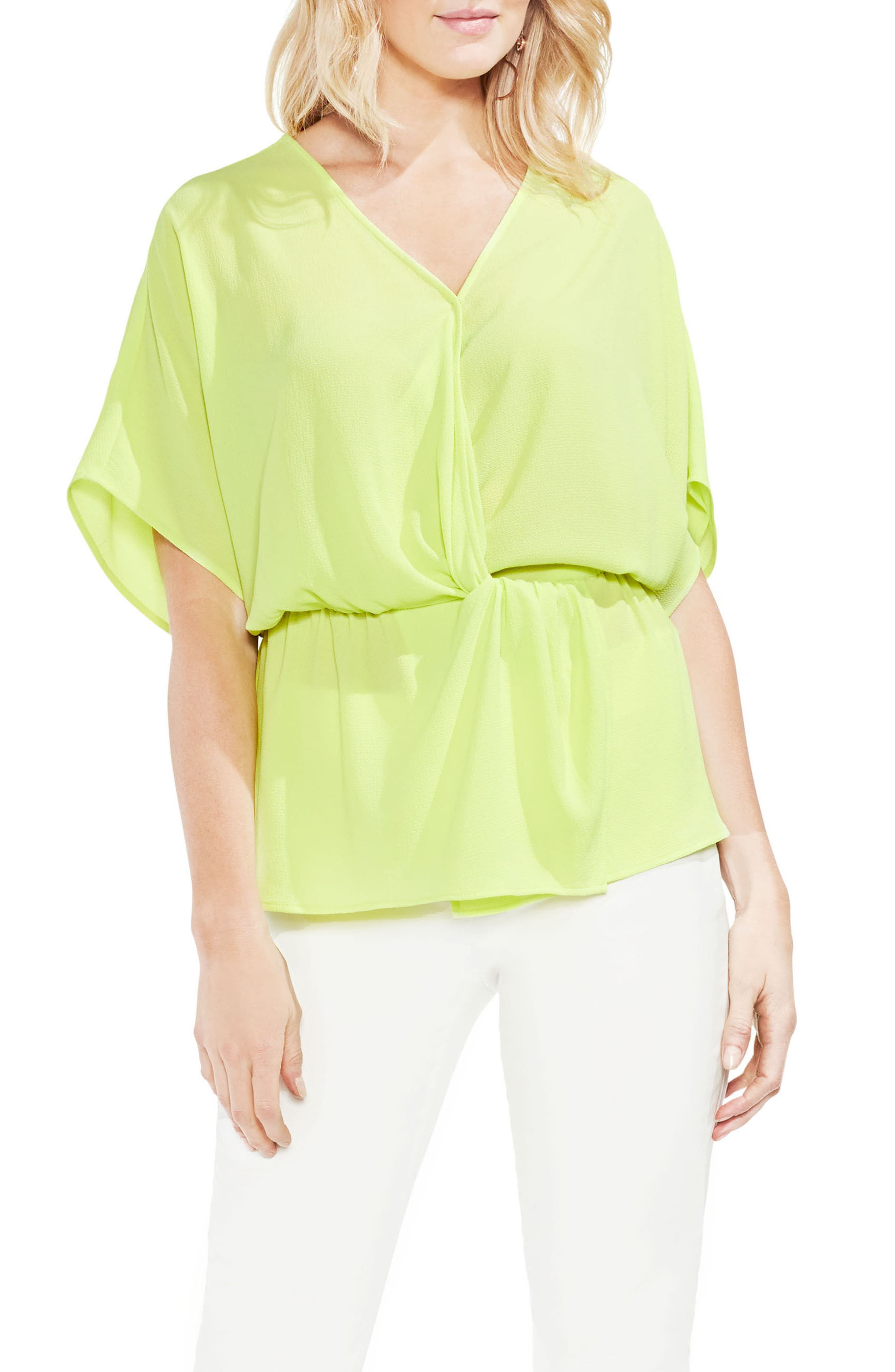 Cinch Front Stretch Crepe Blouse,                         Main,                         color, 300