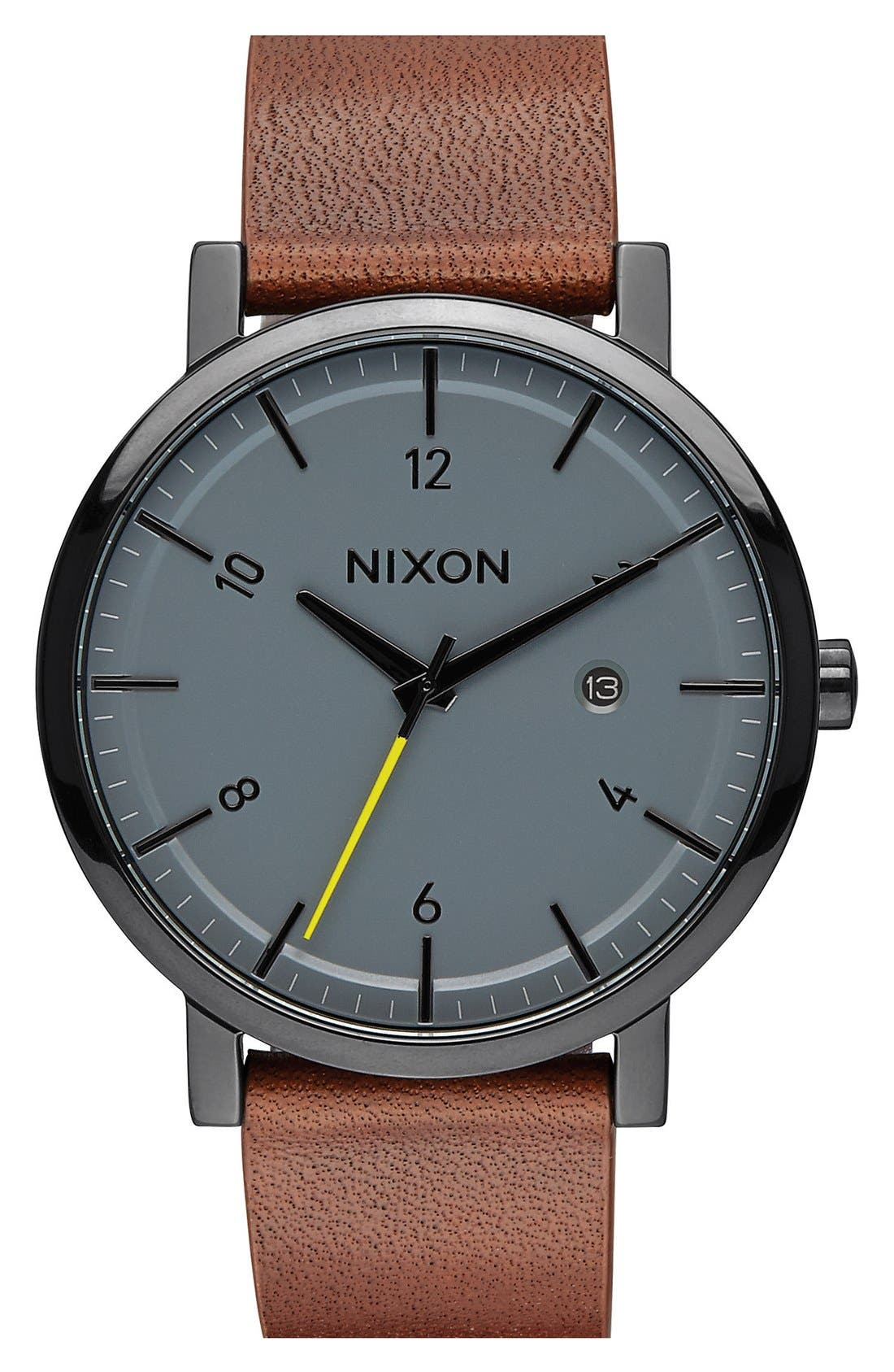 NIXON 'Rollo' Leather Strap Watch, 42Mm in Brown/ Charcoal