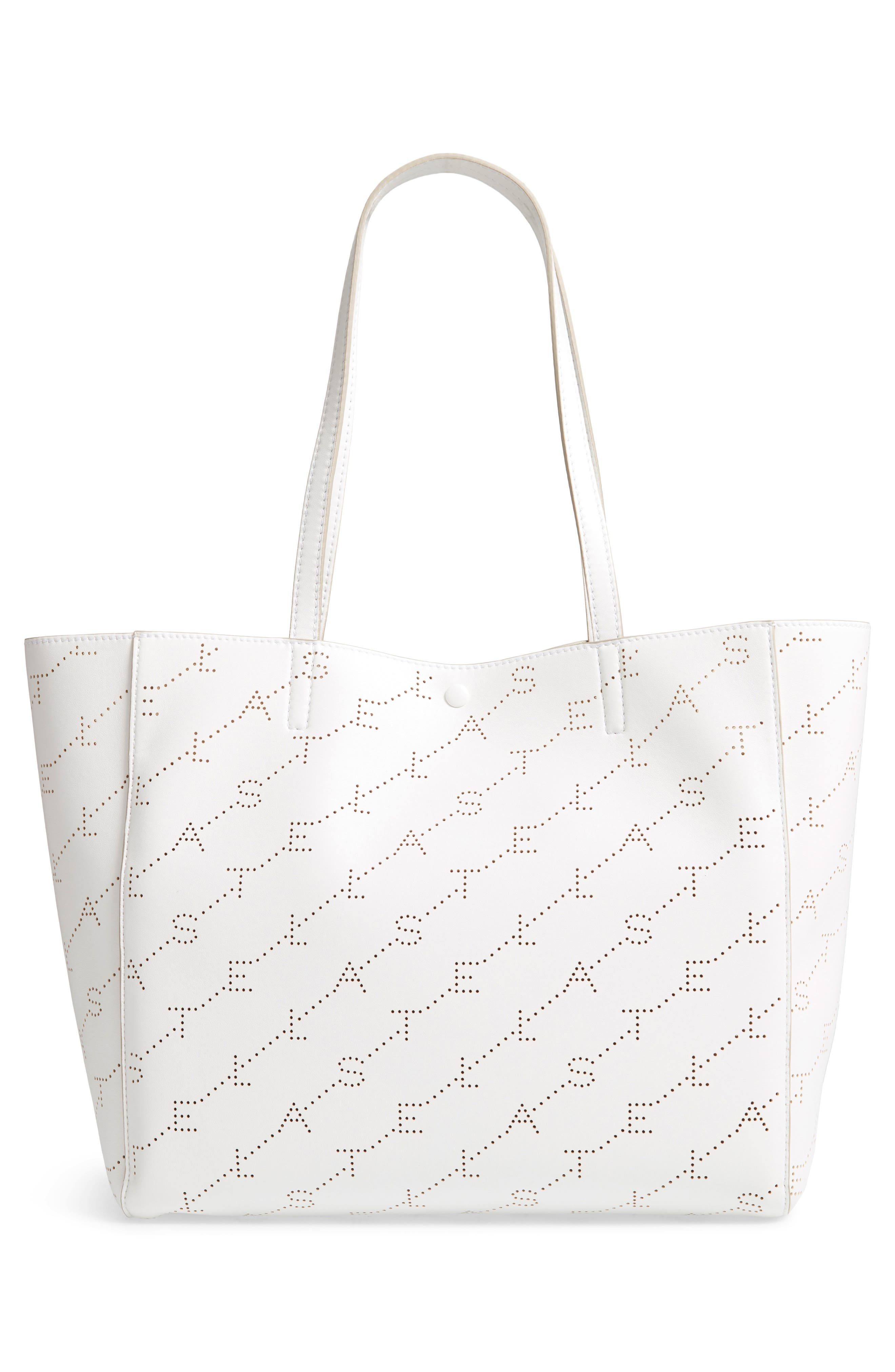 Small Logo Faux Leather Tote,                             Alternate thumbnail 3, color,                             OPTICAL WHITE