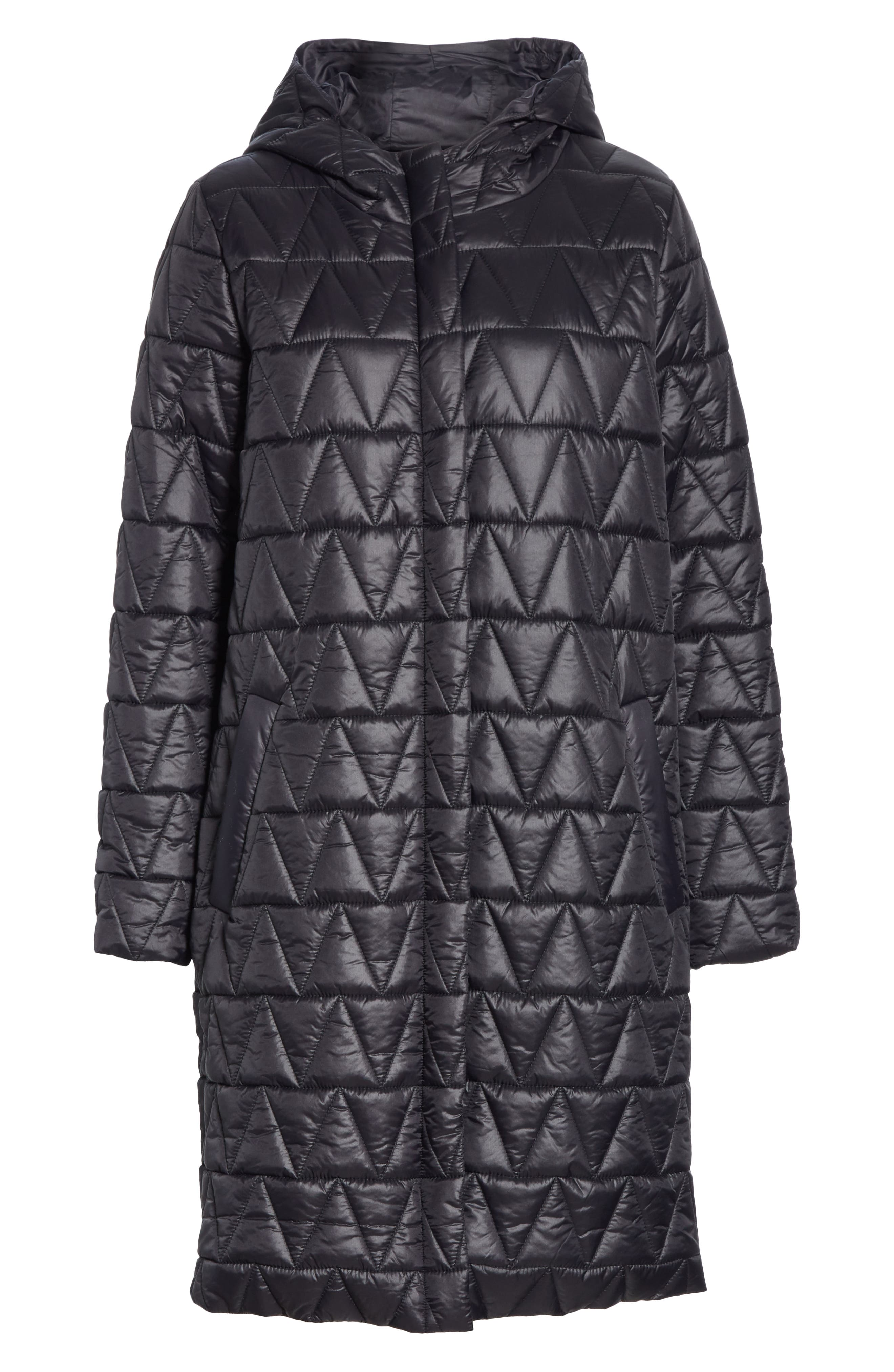 Hooded Quilted Coat,                             Alternate thumbnail 5, color,                             001