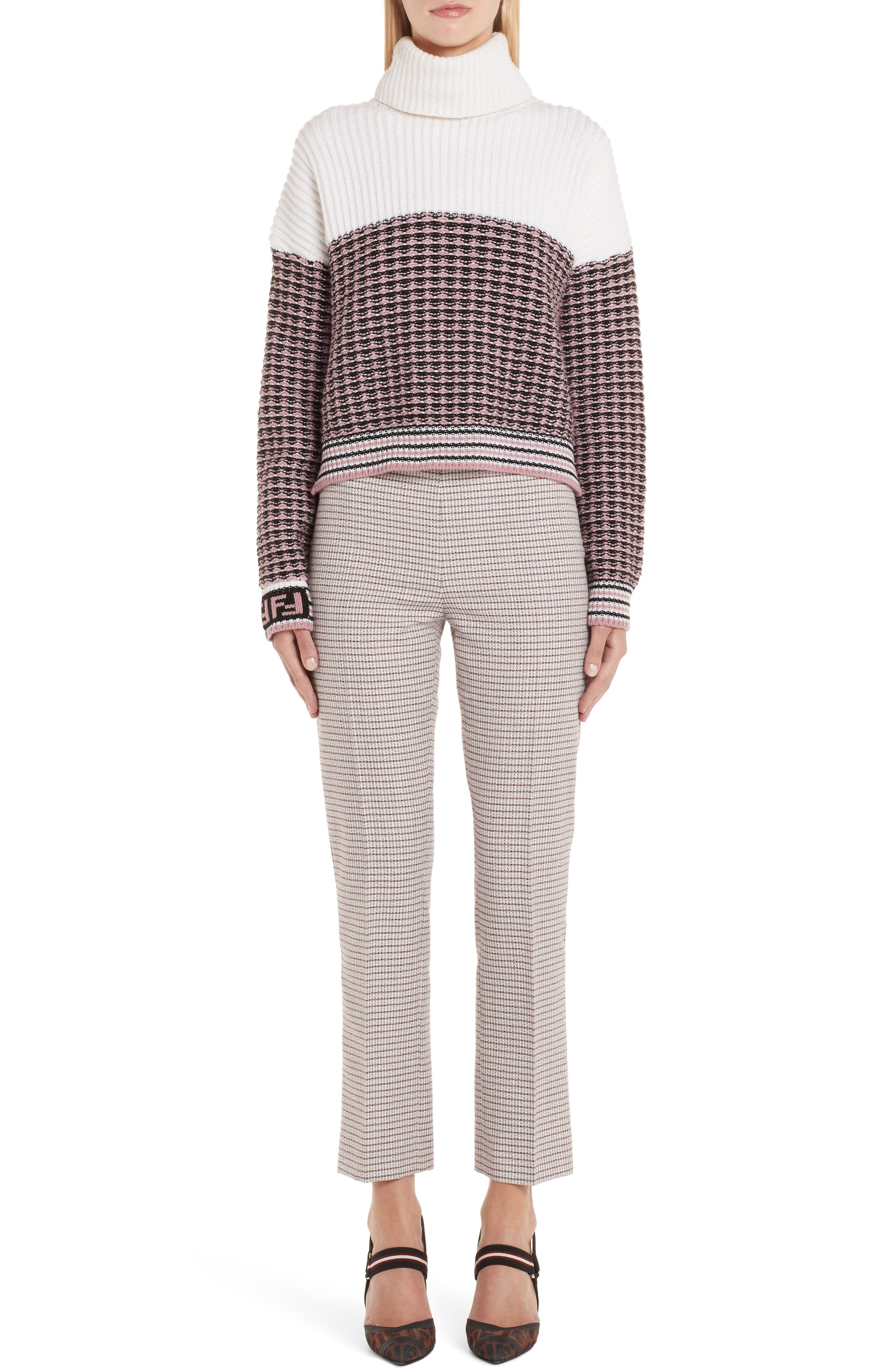 Microcheck Wool & Cashmere Sweater,                             Alternate thumbnail 6, color,                             ARUBA PINK