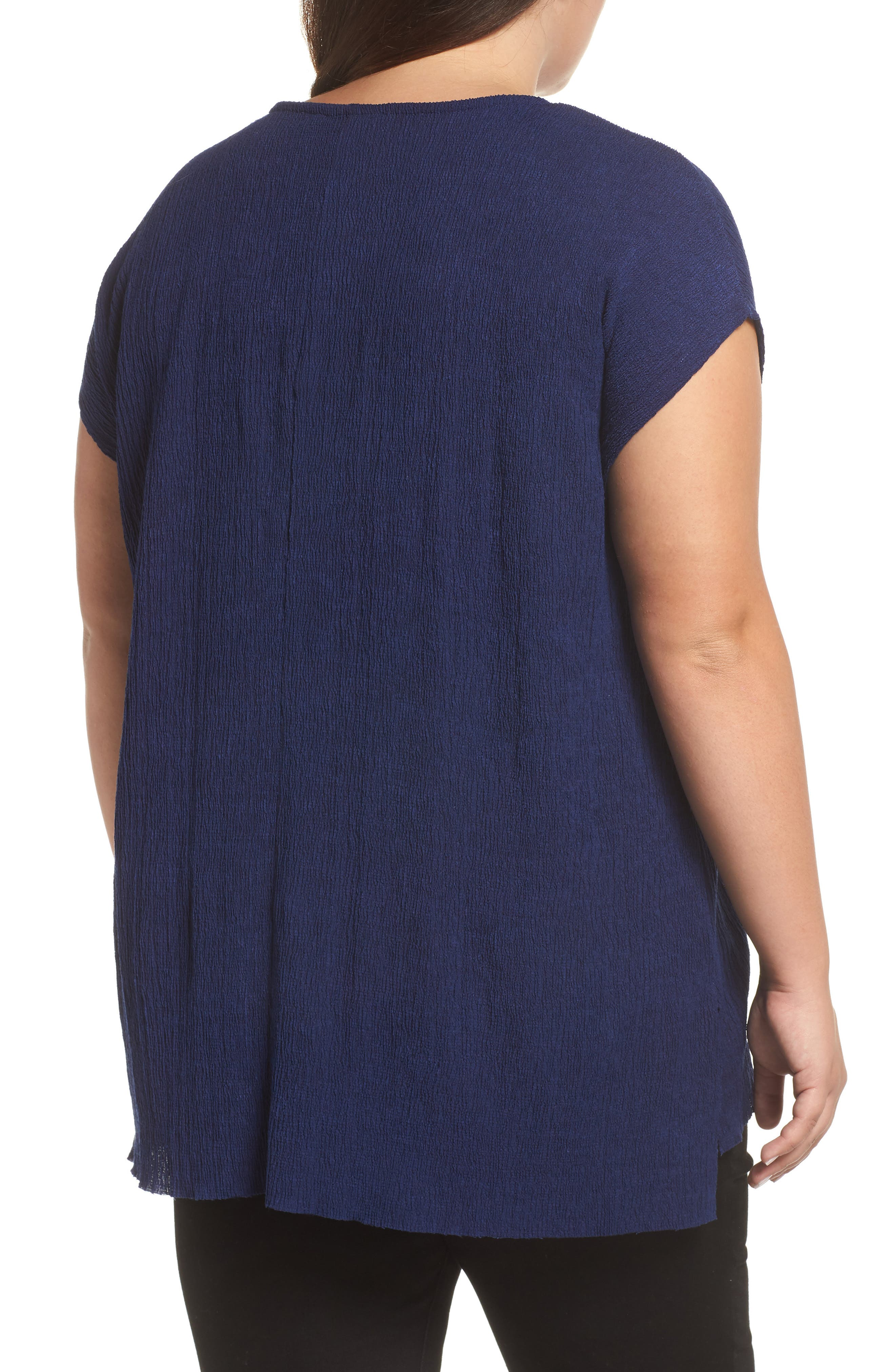High/Low Crinkle Top,                             Alternate thumbnail 2, color,                             NAVY