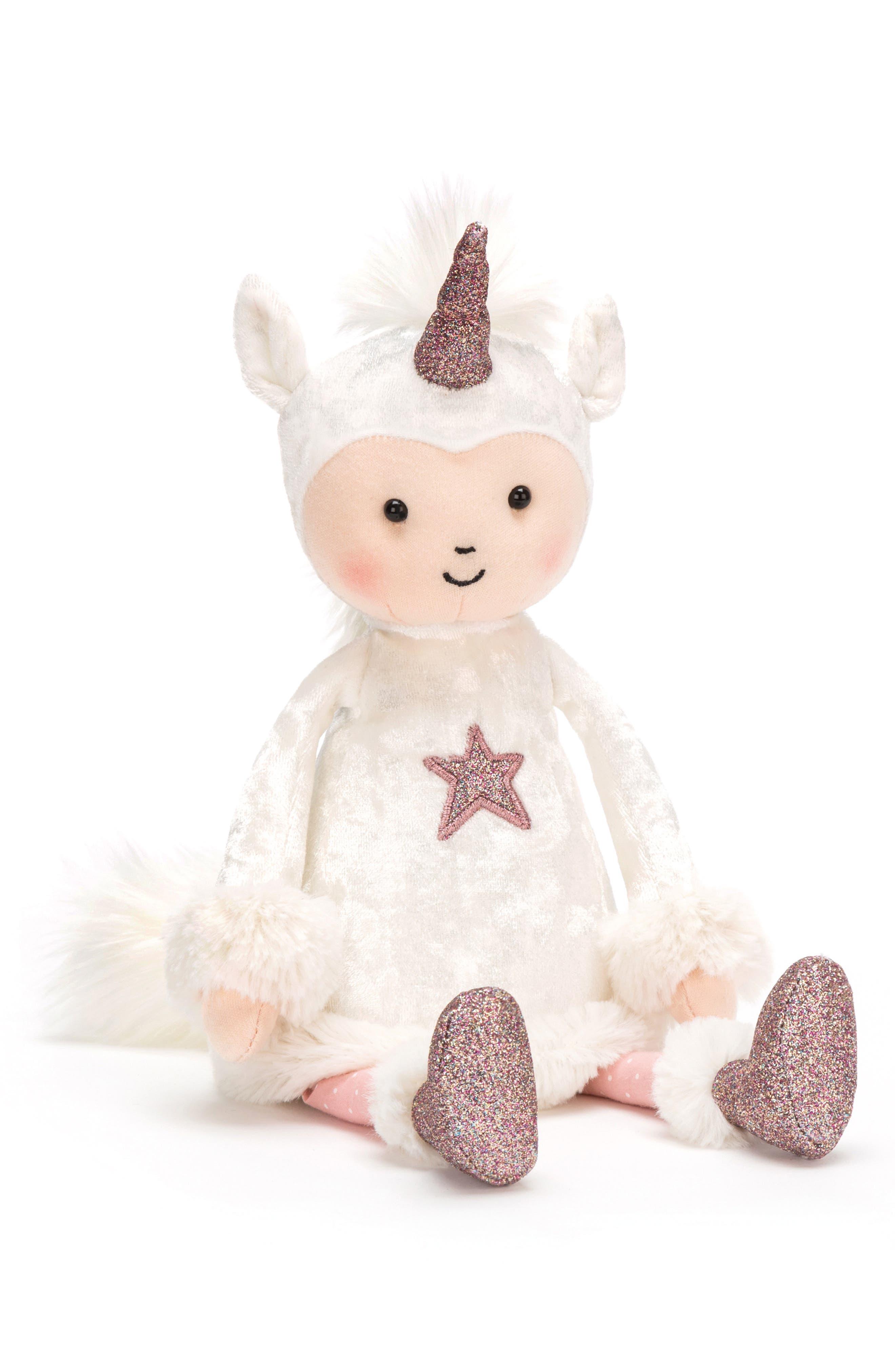 Perkies Unicorn Delight Stuffed Doll,                             Main thumbnail 1, color,                             WHITE