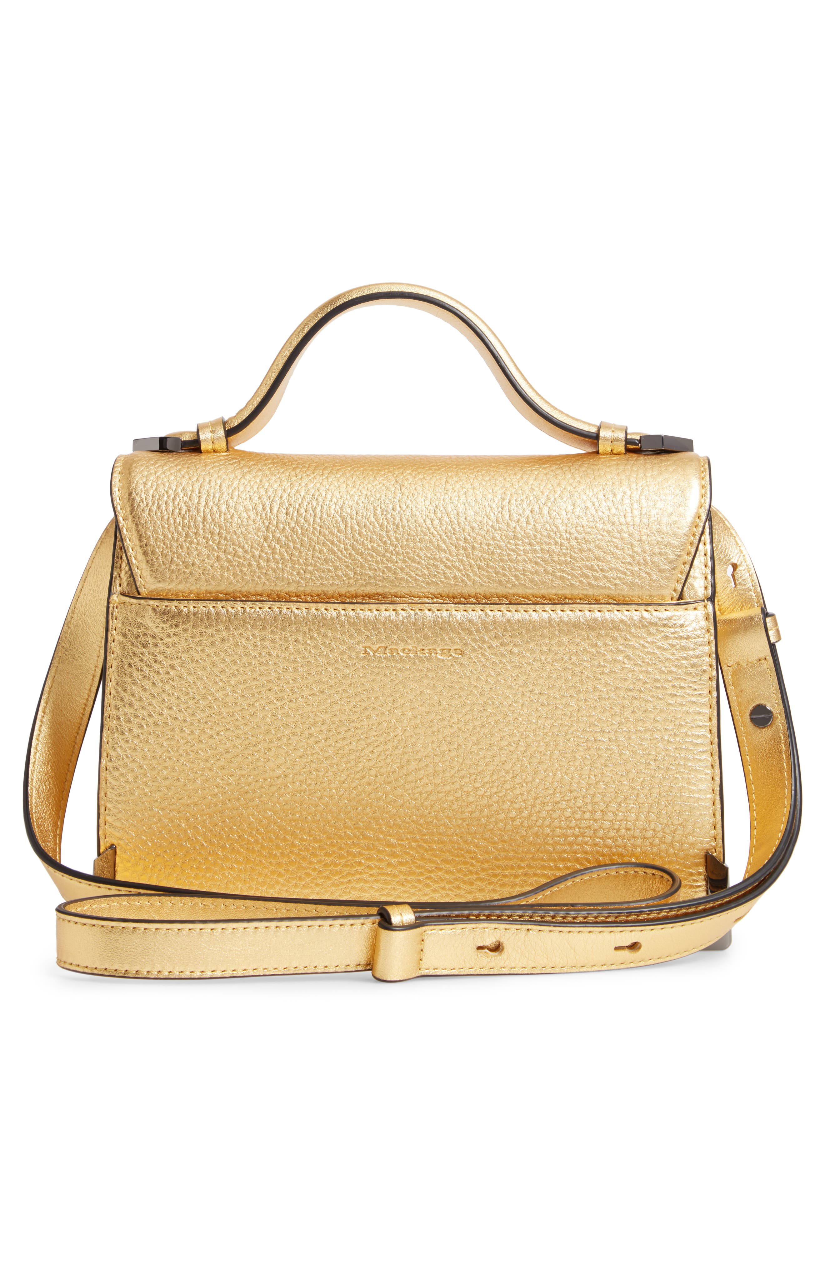 Keeley Leather Satchel,                             Alternate thumbnail 3, color,                             GOLD/ GUNMETAL