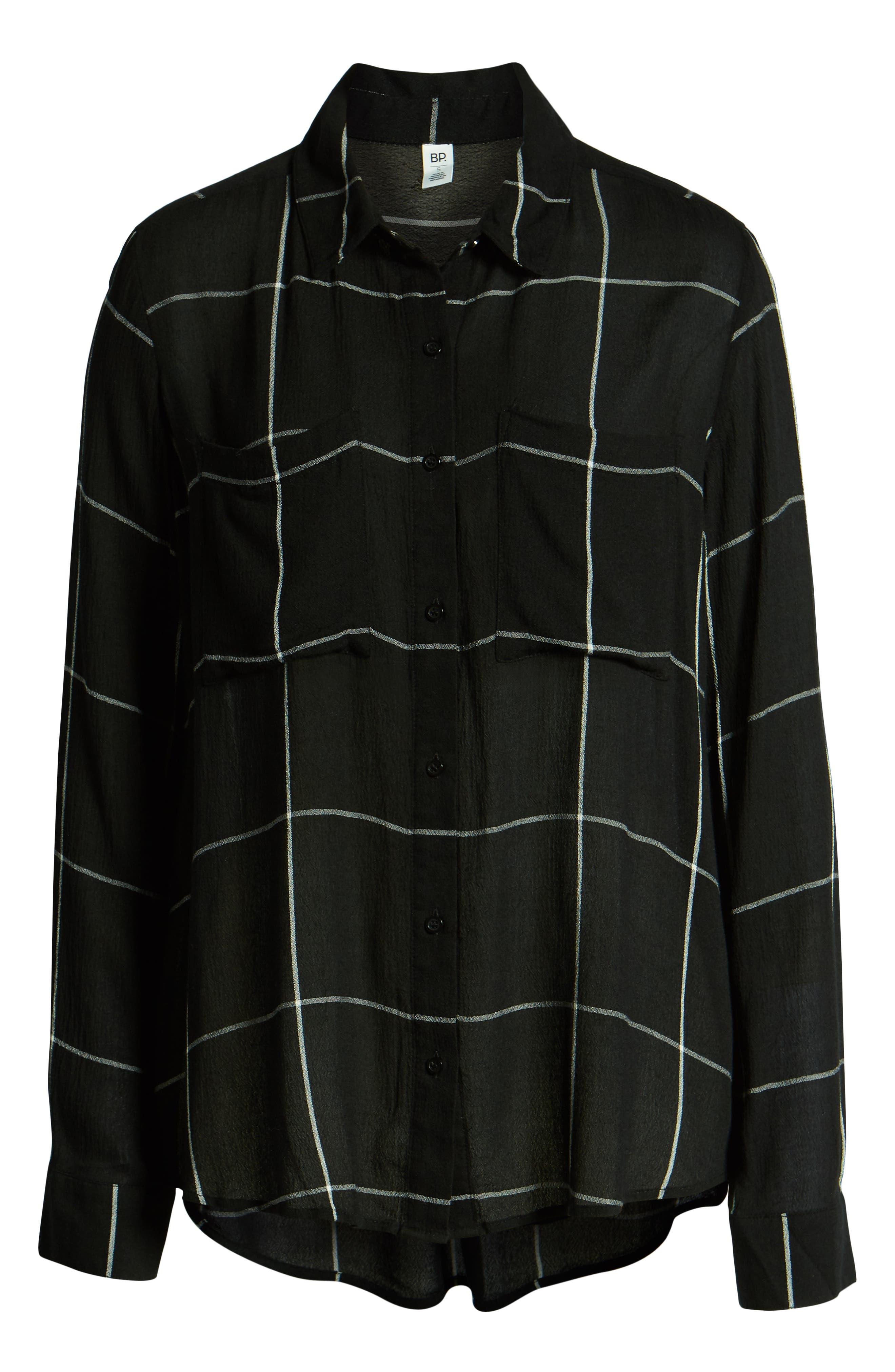 BP.,                             The Perfect Shirt,                             Alternate thumbnail 6, color,                             BLACK MAZY WINDOW PANE