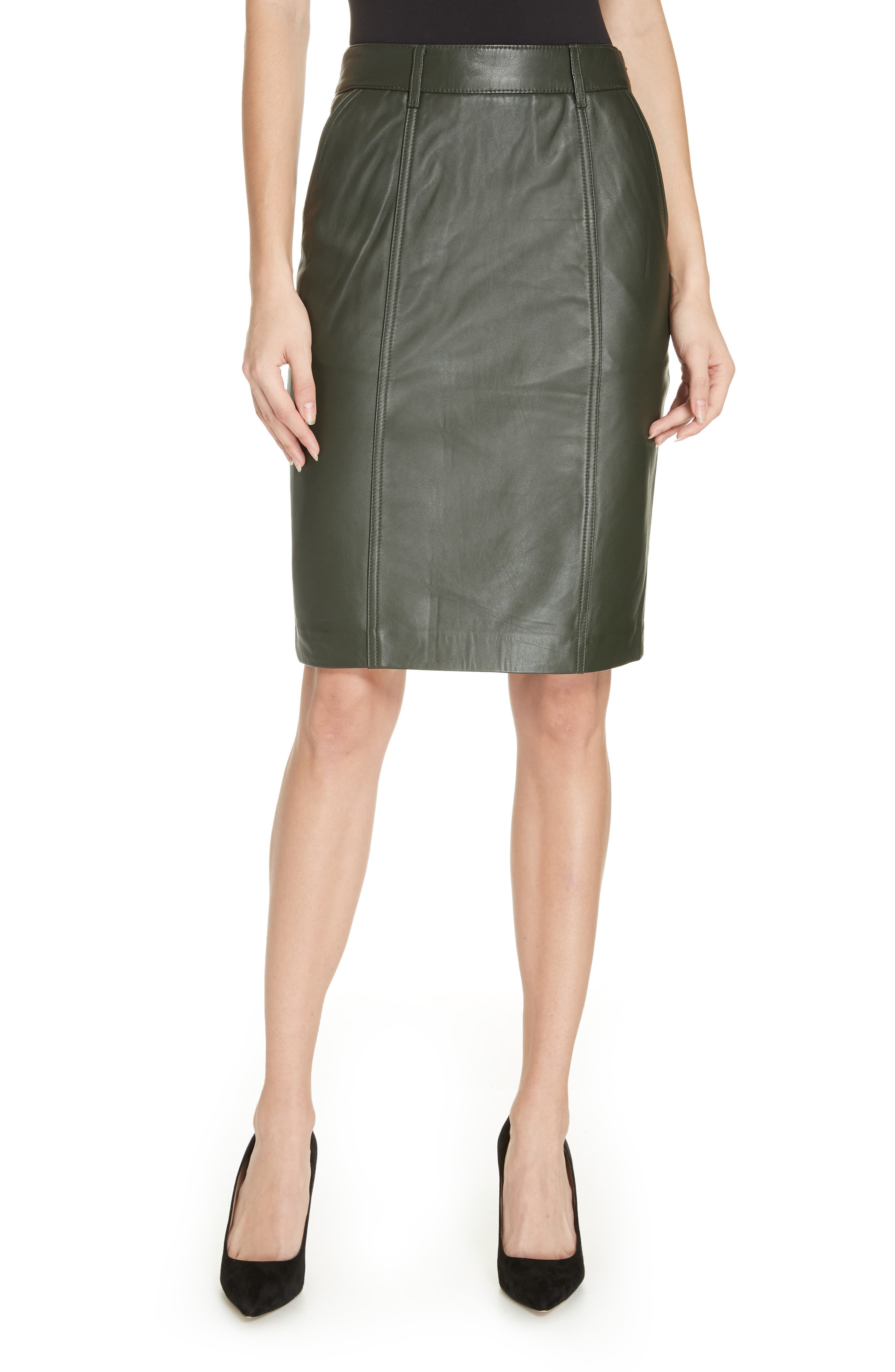 REISS Kara Leather Pencil Skirt in Green