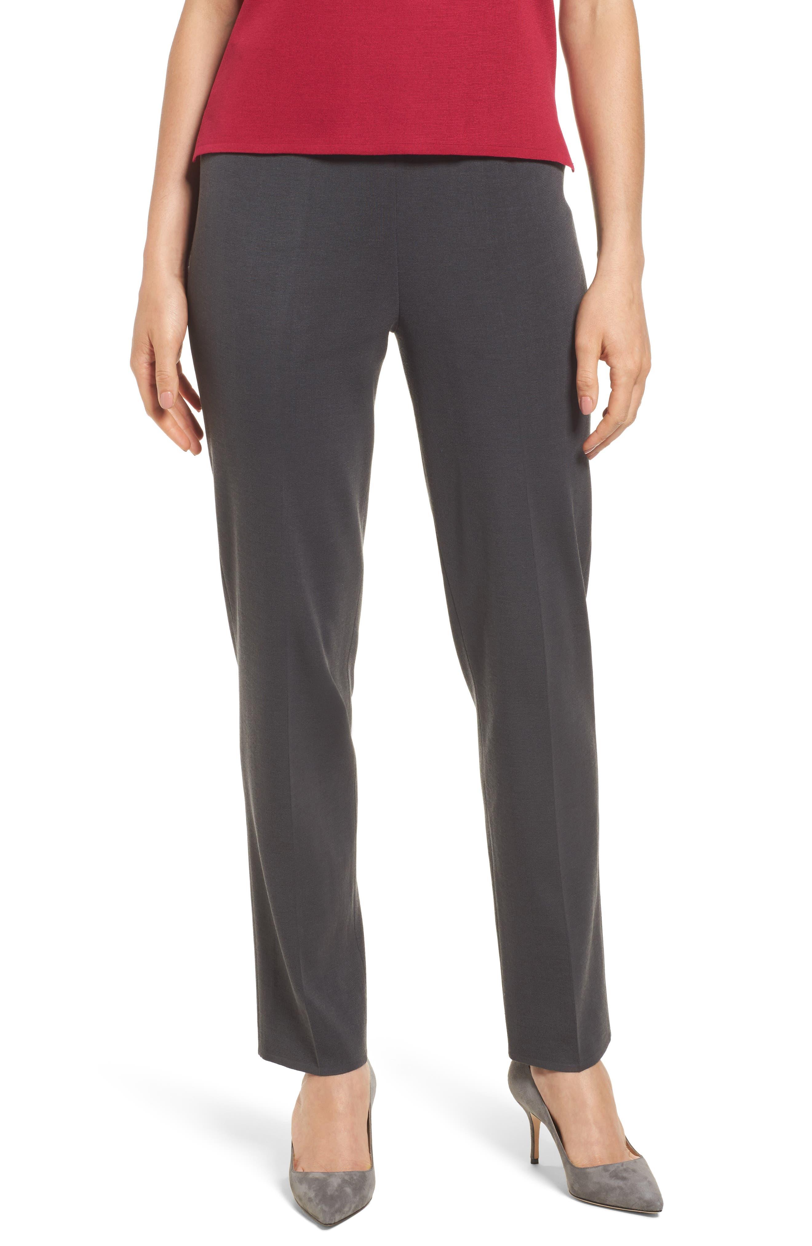 MING WANG Pull-On Knit Pants, Main, color, GRANITE