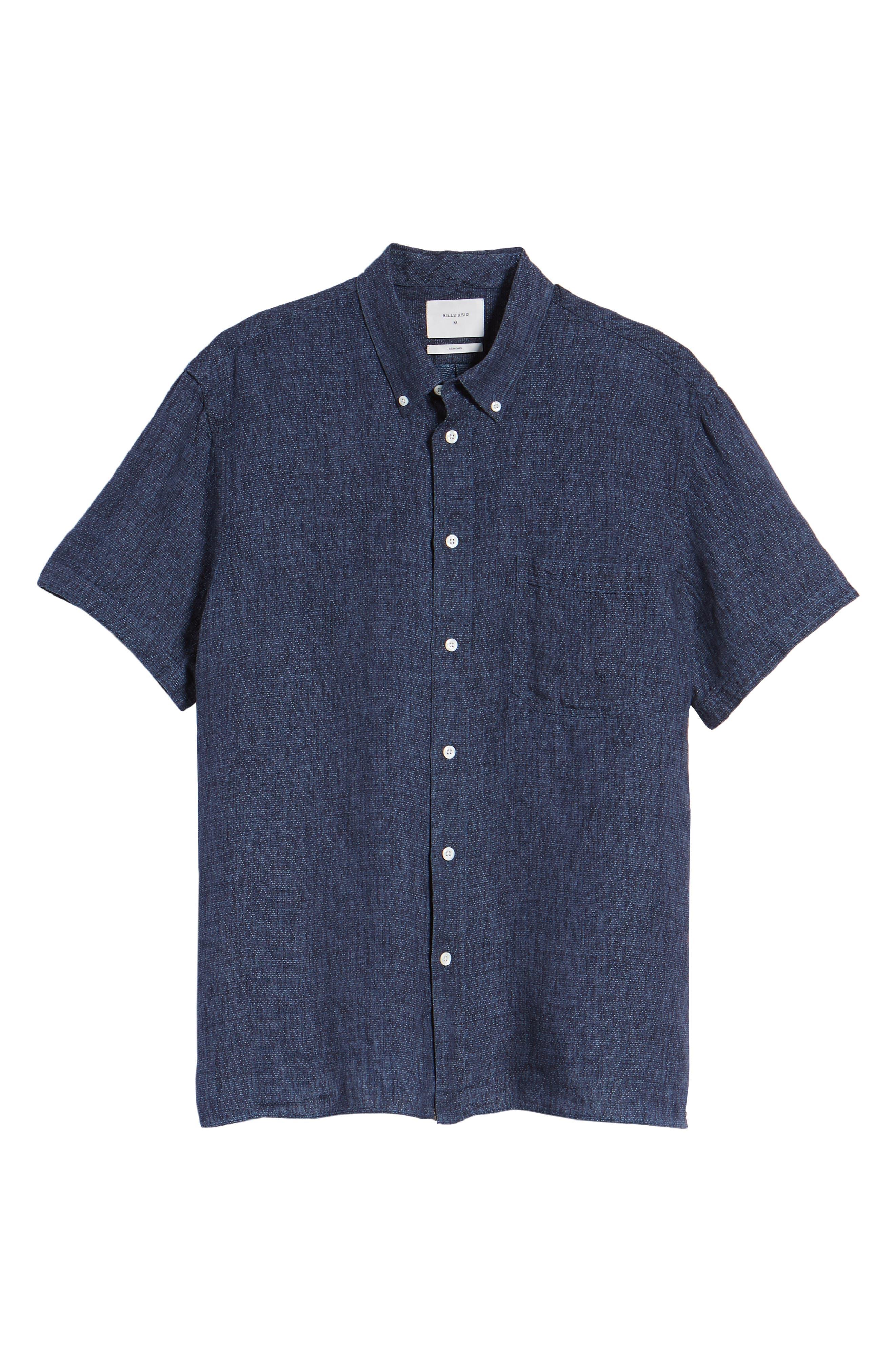 Leo Standard Fit Short Sleeve Sport Shirt,                             Alternate thumbnail 6, color,                             BLUE